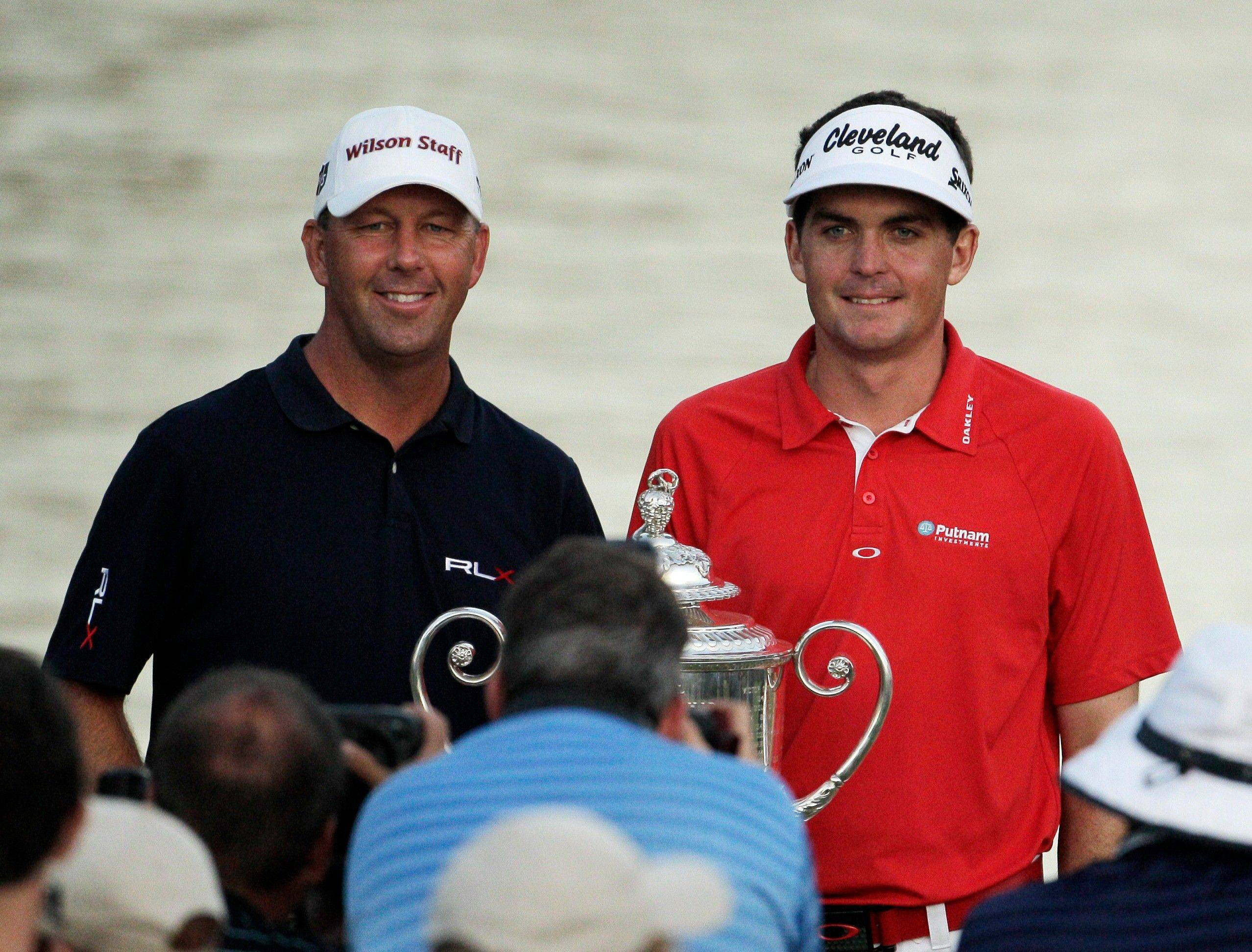 Mike Small, left, posed with PGA Chamionship winner Keegan Bradley at the Atlanta Athletic Club in Johns Creek, Ga. Small was the only club pro to make the cut.
