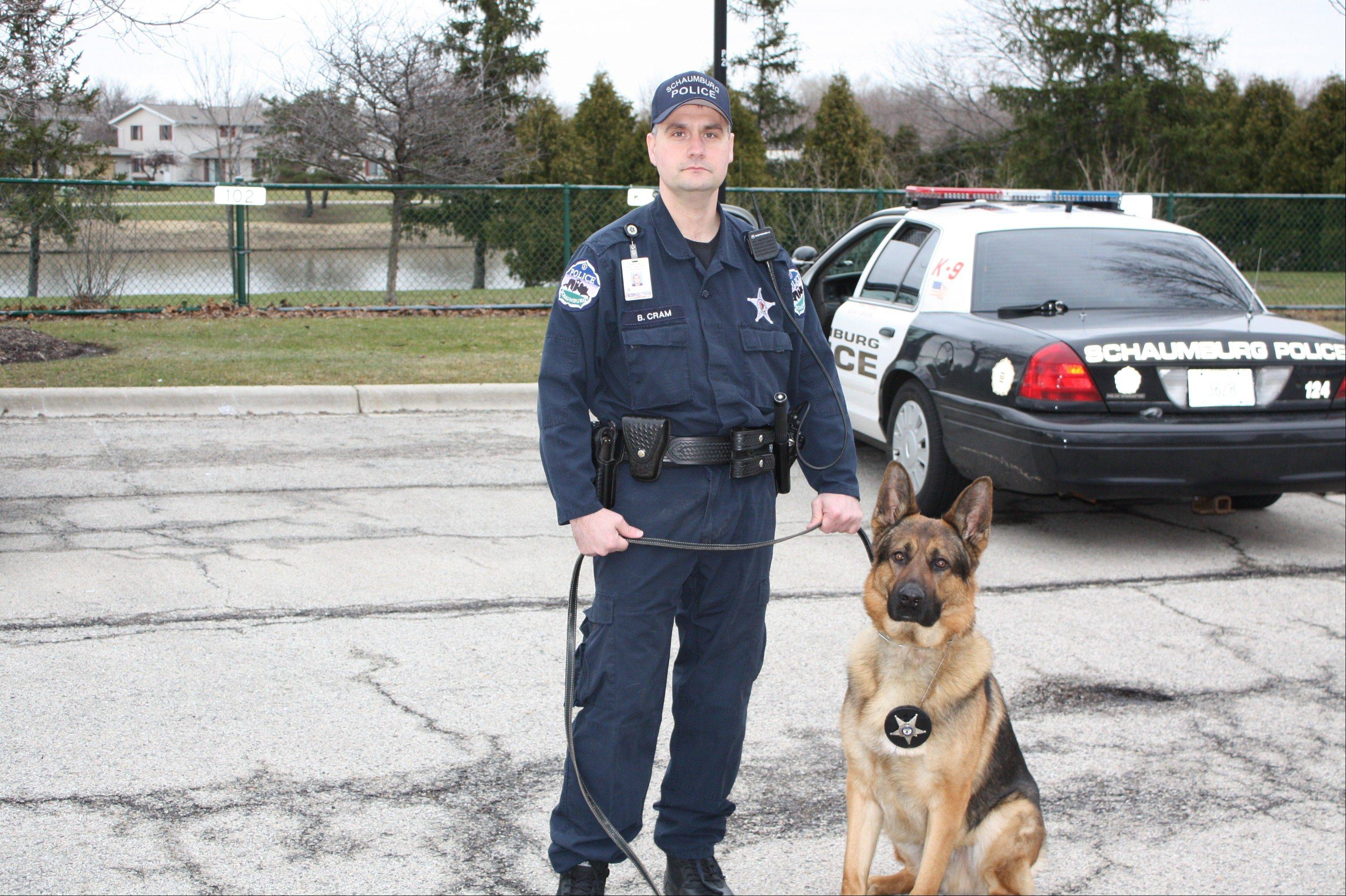 Schaumburg's police dog, Thunder, will retire next month when his handler, Officer Bruce Cram, is promoted to sergeant.
