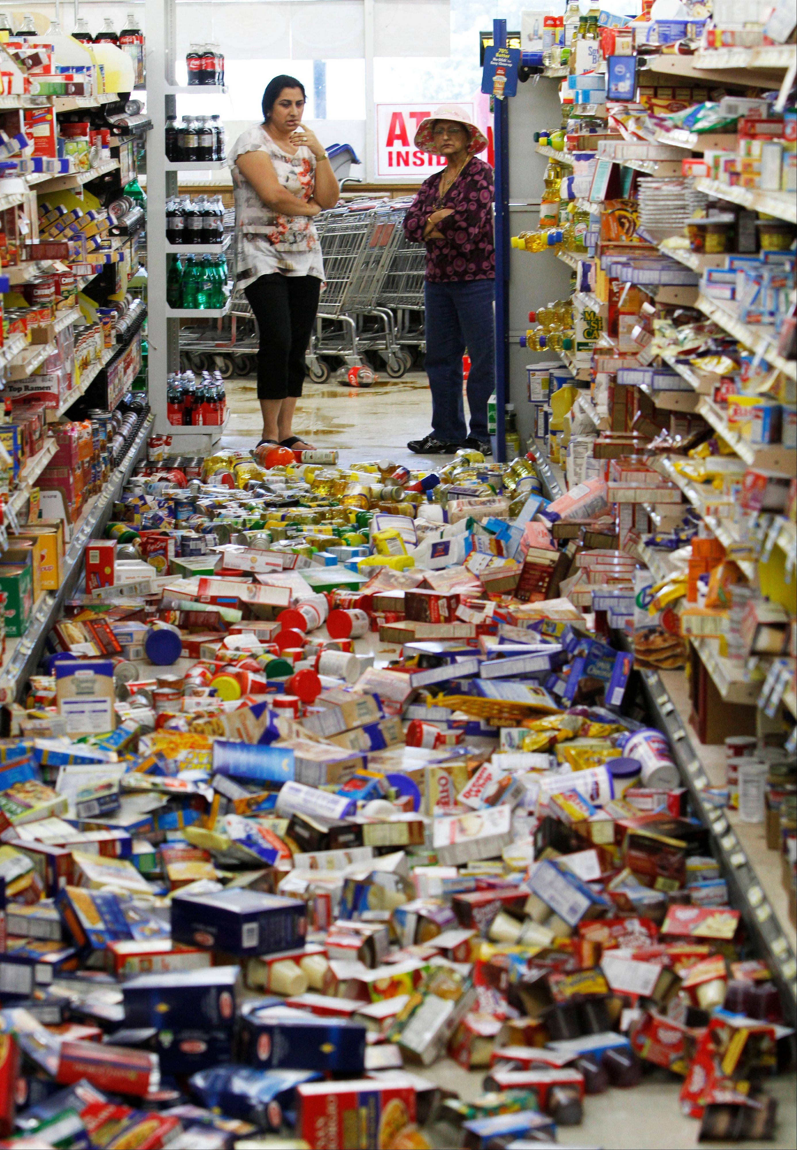 Debris covers the floor of the Miller's Mart food store in Mineral, Va., a small town northwest of Richmond near the earthquake's epicenter, Tuesday, Aug. 23, 2011. The most powerful earthquake to strike the East Coast in 67 years shook buildings and rattled nerves from South Carolina to Maine.