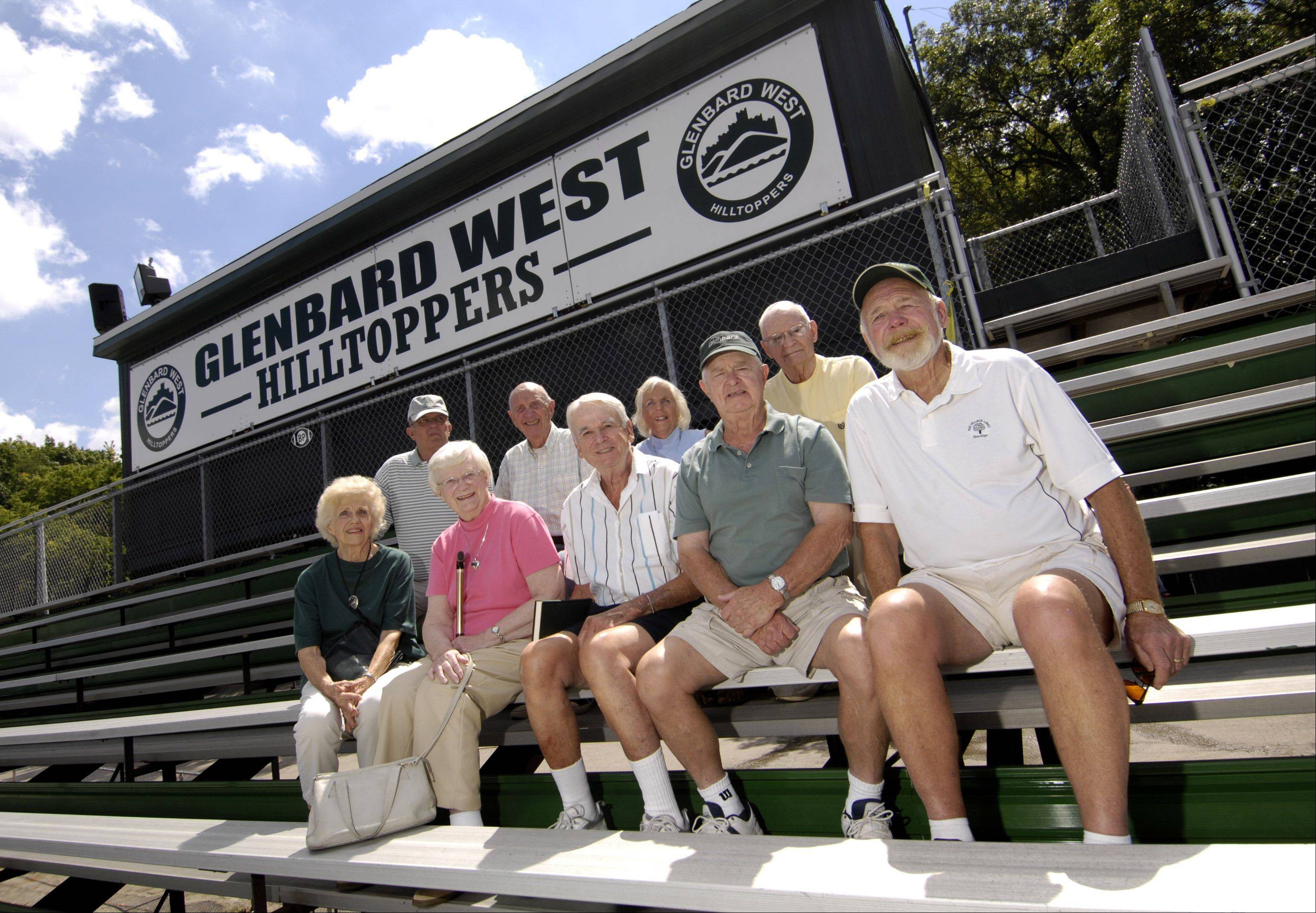 Longtime Glenbard West football fans say they're ready for Sunday's matchup with Wheaton Warrenville South. Gathered in the stands at Duchon Field are Jim Giesler, back row from left, Marty Detmer, Joy Murphy and Bill Duchon, and Greta Rothrock, front row from left, Betty Elliott, Joe Carlton, Harold Prichard and Dennis Murphy.