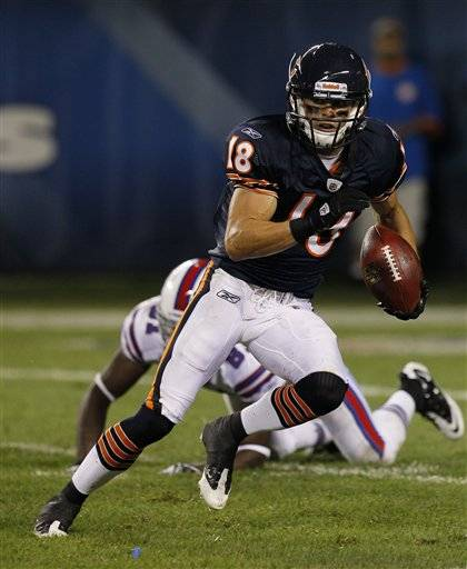 Bears receiver Dane Sanzenbacher has been a pleasant surprise at camp this season.