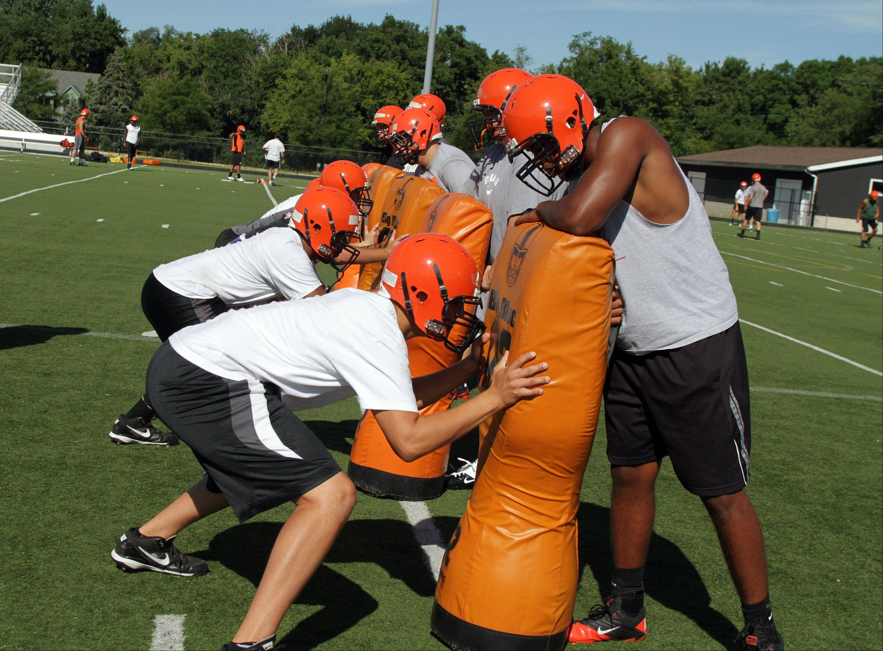 Wheaton Warrenville South's first day of football practice on Wednesday in Wheaton.