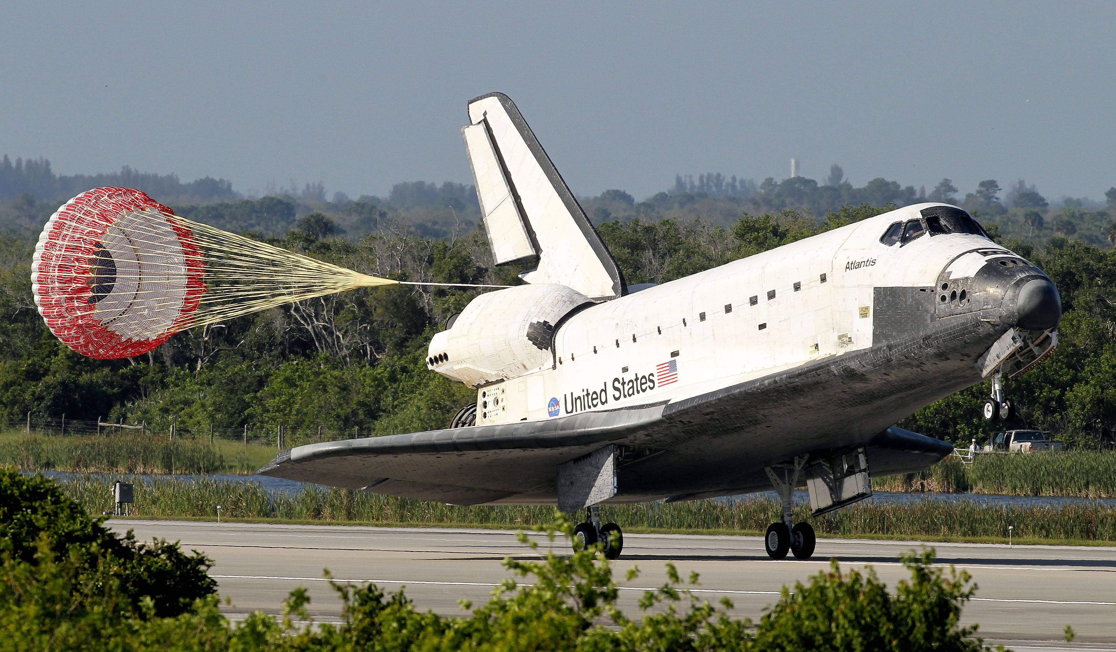 The space shuttle Atlantis lands at the Kennedy Space Center on May 26, 2010, in Cape Canaveral, Fla.