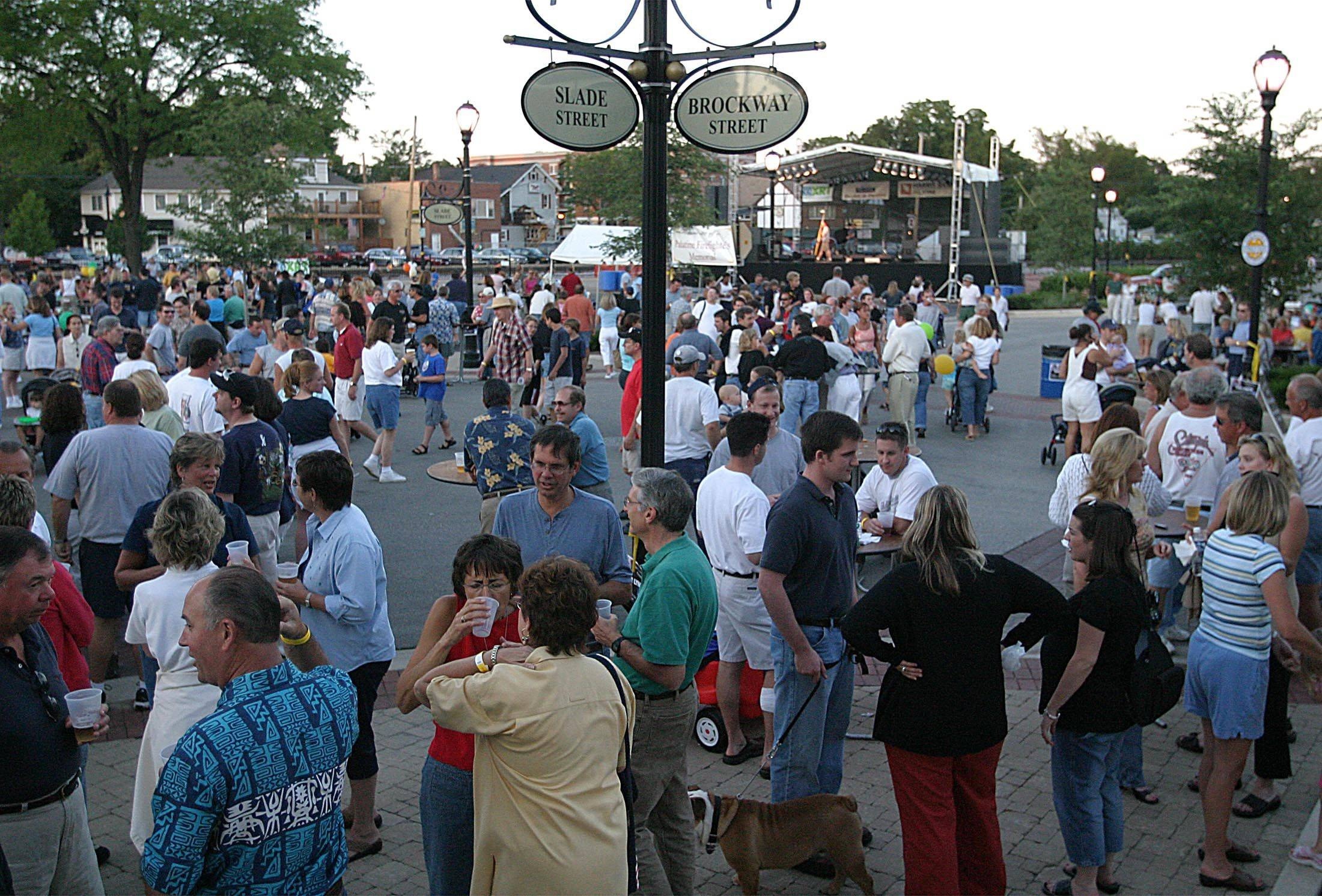 Downtown Palatine is full of festgoers.