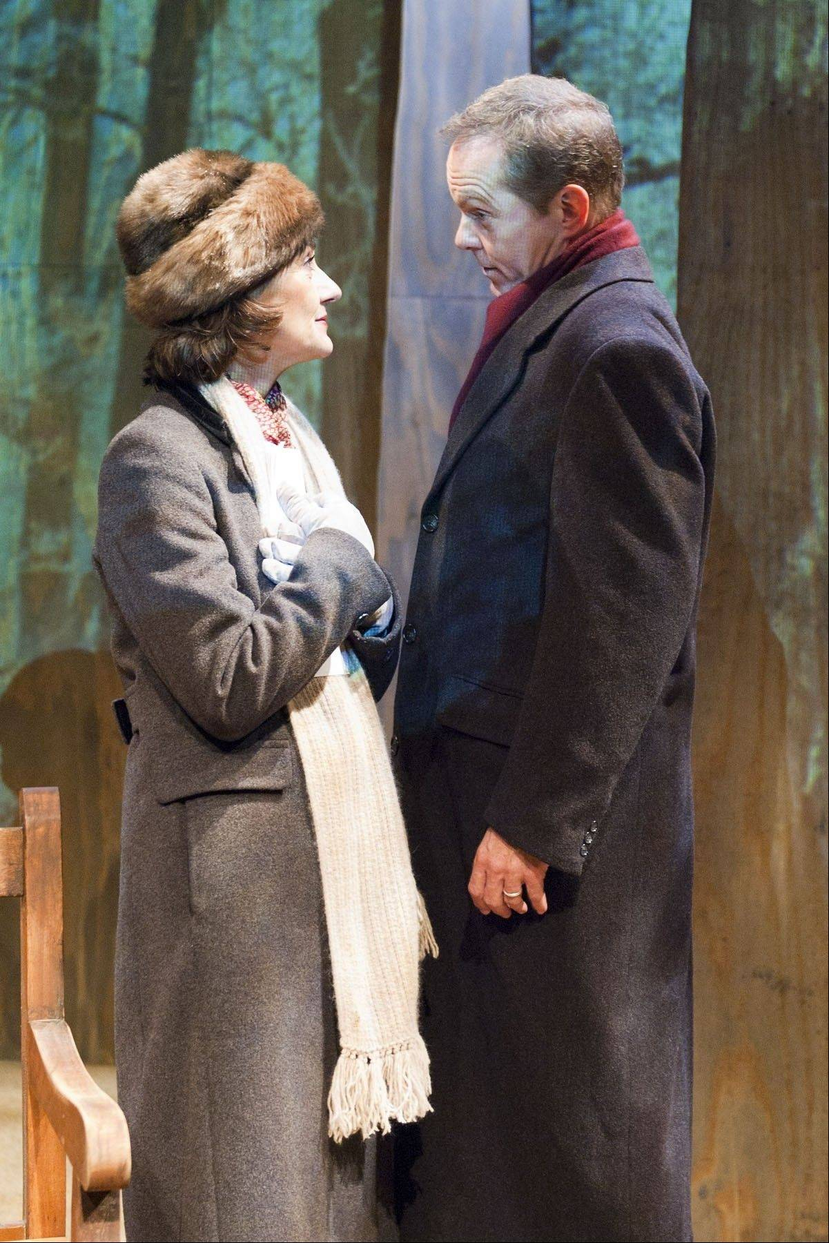 "Janet Ulrich Brooks plays a Russian nuclear arms negotiator and David Parkes plays her American counterpart in TimeLine Theatre's revival of Lee Blessing's 1986 drama ""A Walk in the Woods,"" about two diplomats attempting to reduce their country's weapons stockpiles."