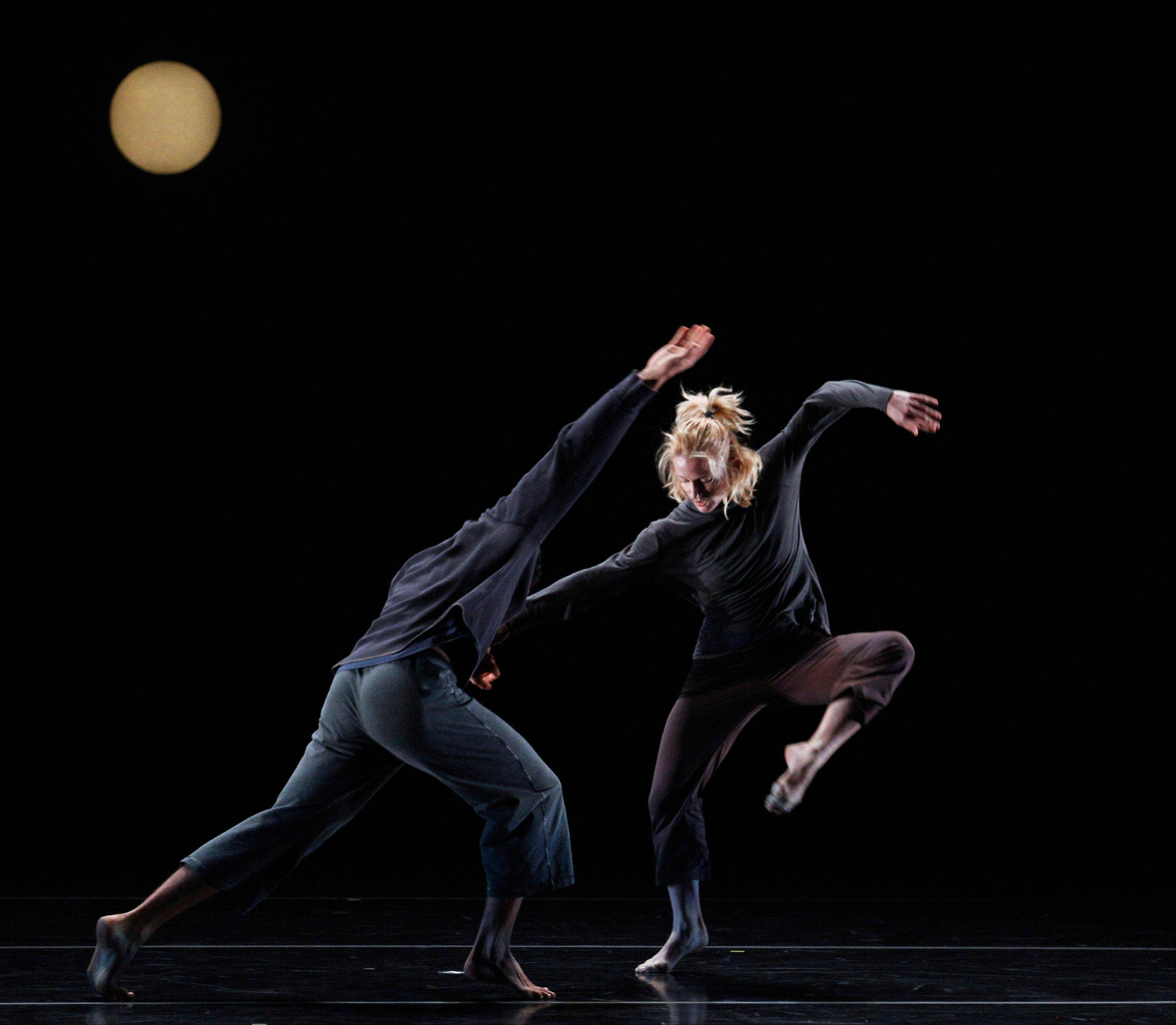 "Dancers Natalie Desch and Alex Springer, of Doug Varone and Dancers, practices ""Lux"" during a dress rehearsal for the Chicago Dancing Festival, which ends Saturday."