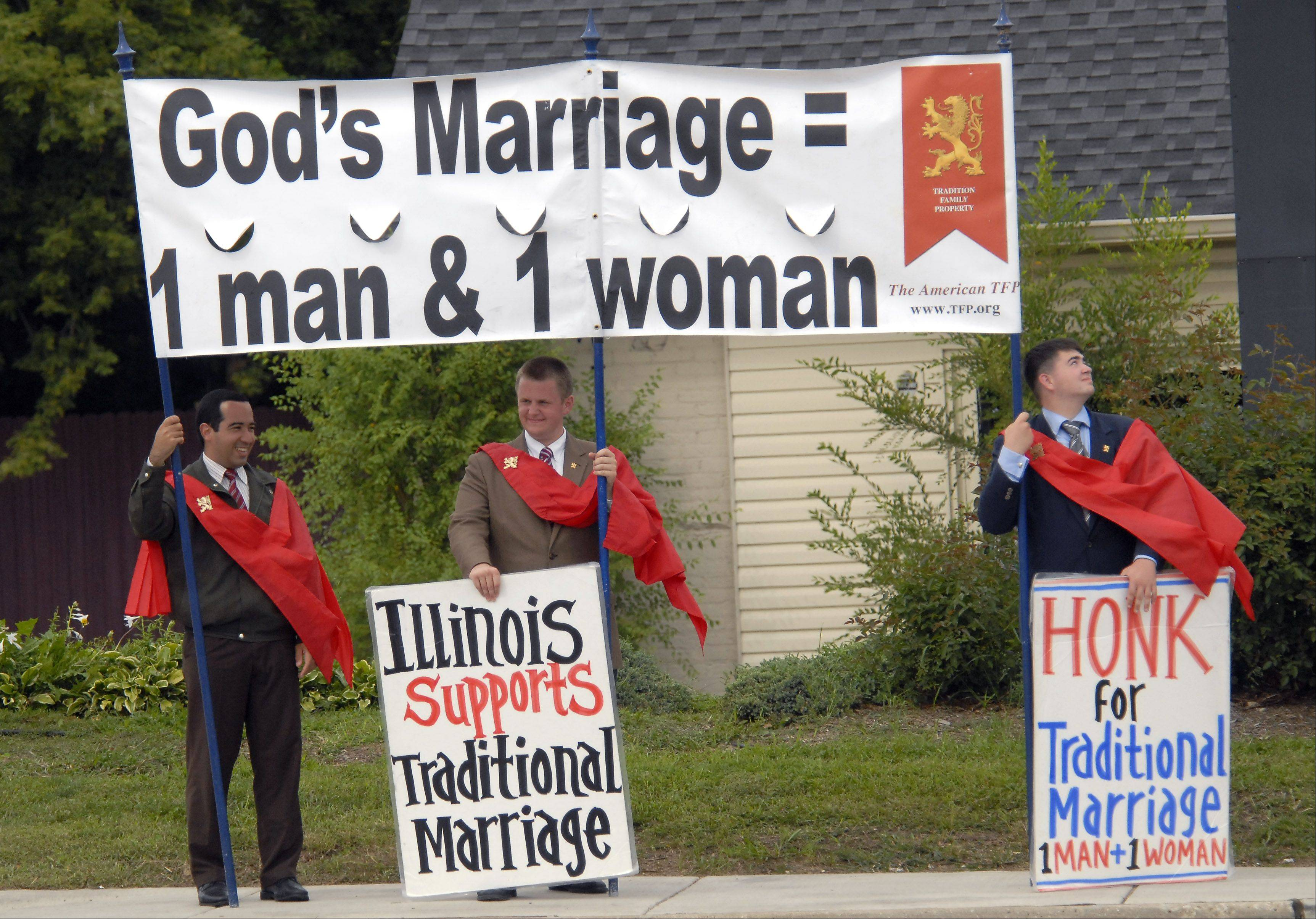 Ten members of the American Society for the Defense of Tradition, Family, and Property drove 800 miles from York, Pa., to stage protests against gay marriage in Illinois. Friday afternoon they were at the intersection of Rand and Dundee roads in Palatine.