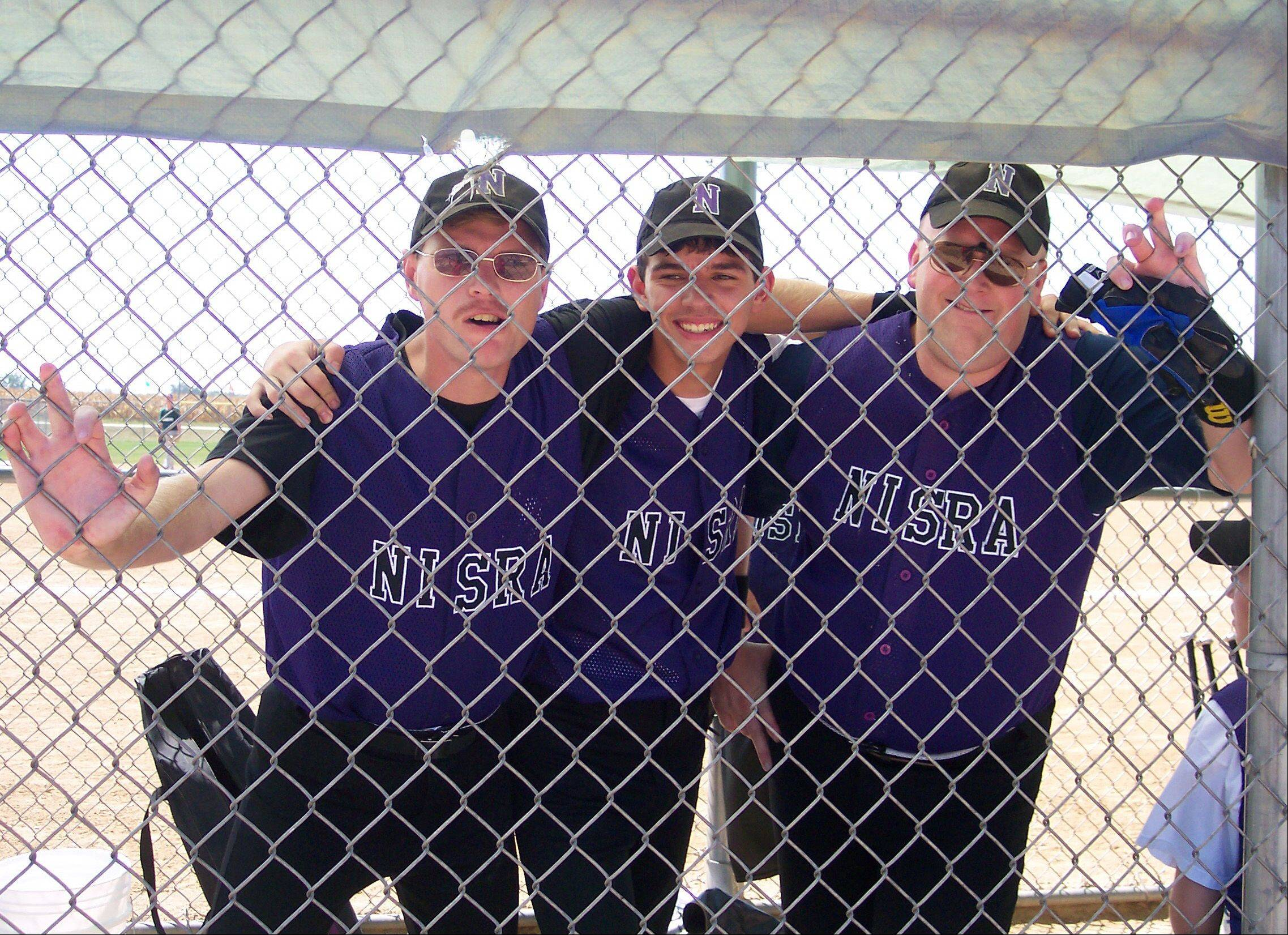 Players from the NISRA team practice for the upcoming Special Olympics national softball tournament in Elgin.