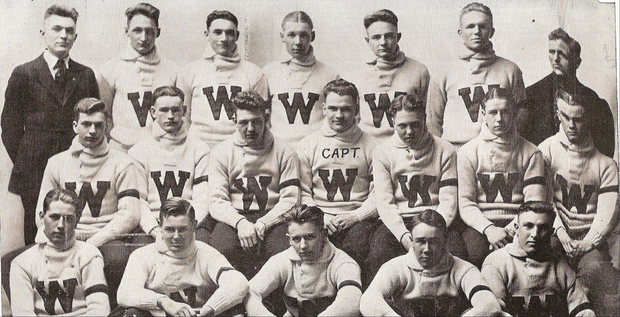 The football team at Wheaton High School in 1919. Grange is seated just left of the captain, third from the left in the middle row.
