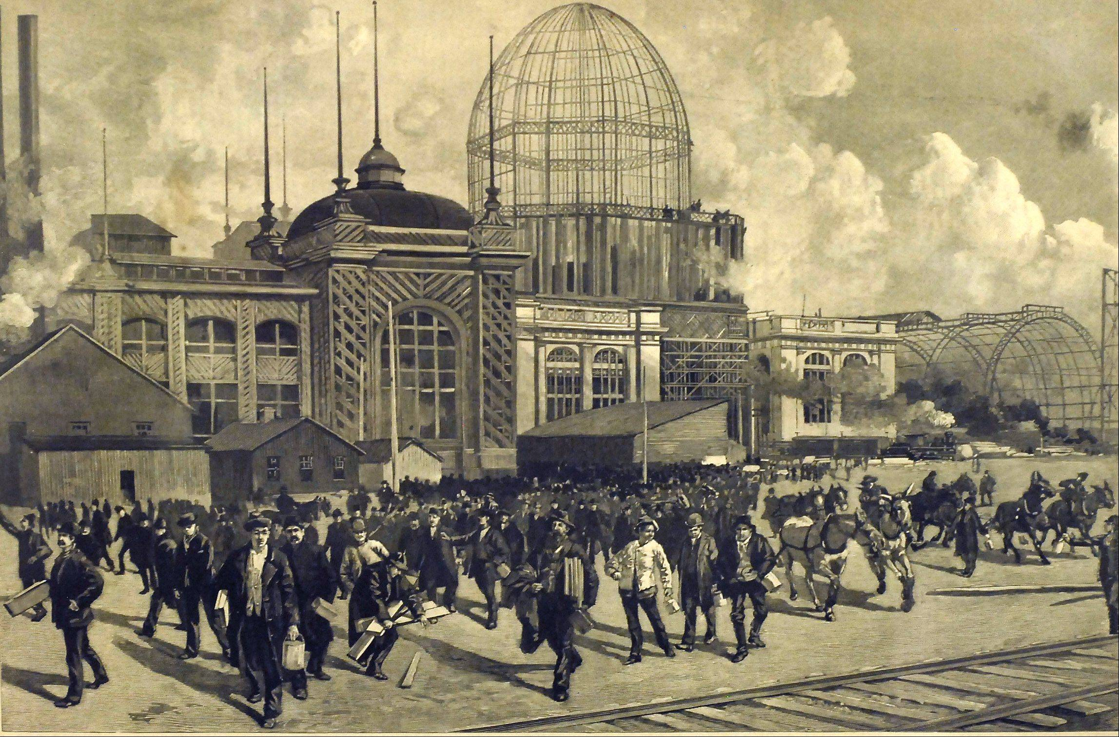 An engraving shows some of the 10,000 construction workers leaving after a day's work building the 1893 fair.