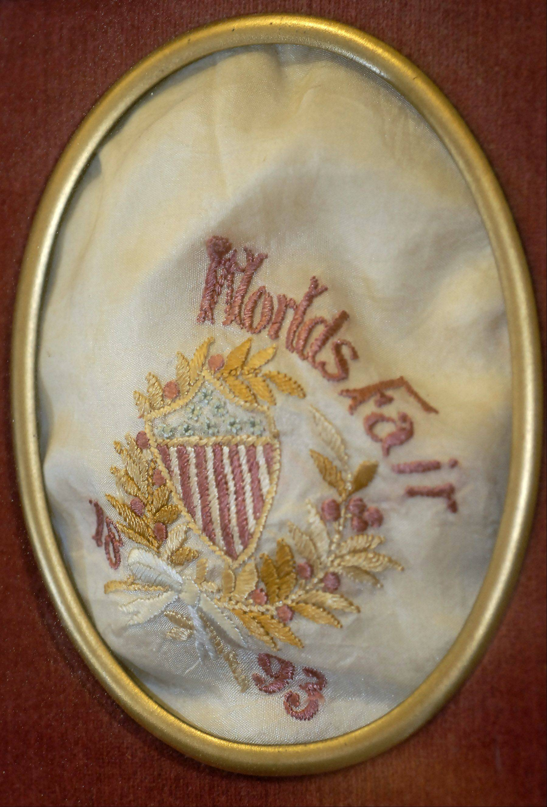 A piece of embroidered fabric was used at an official dinner celebrating the 1893 Columbian Exposition in Chicago.