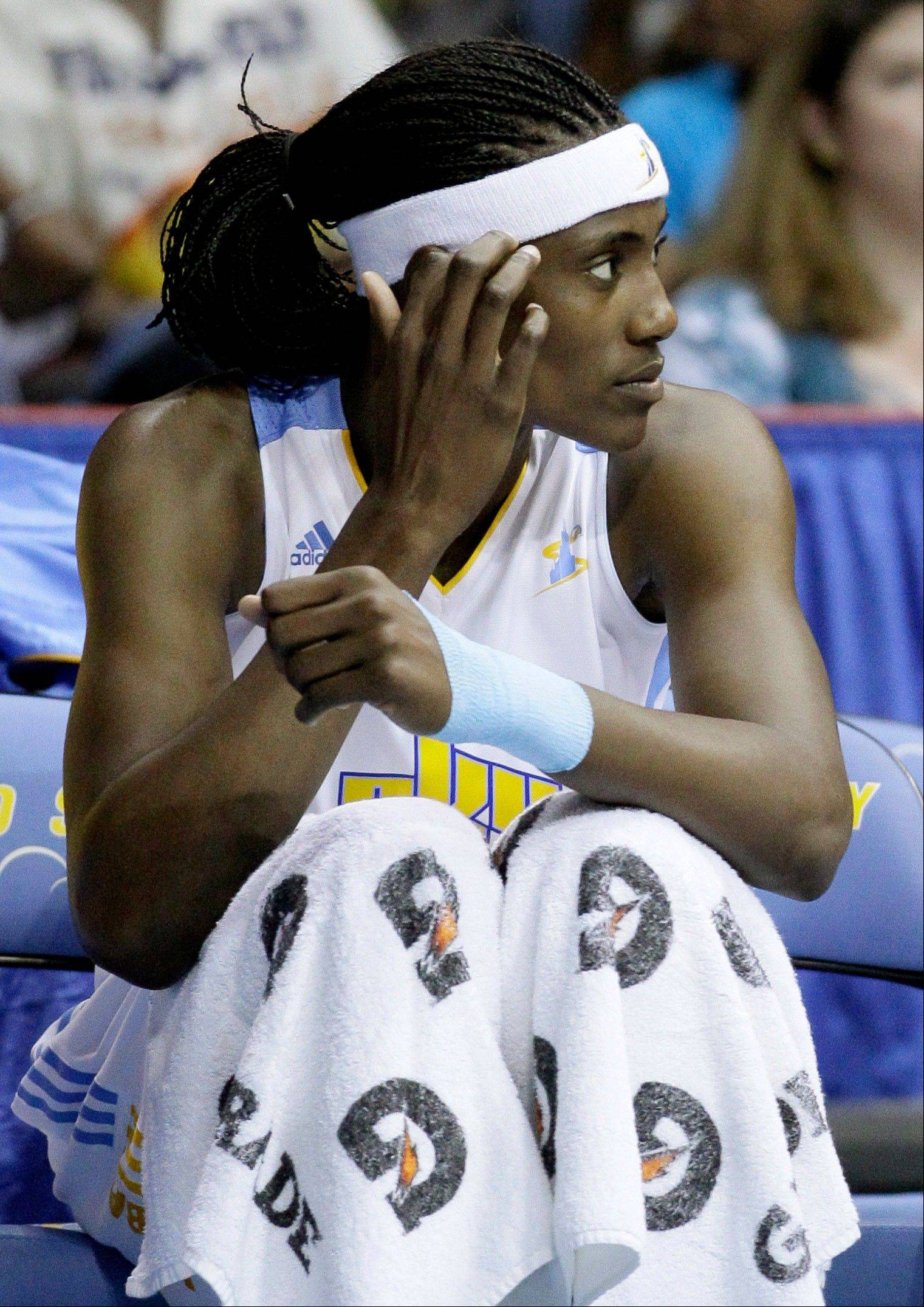 The Sky's Sylvia Fowles watches the action Friday against the Mystics.