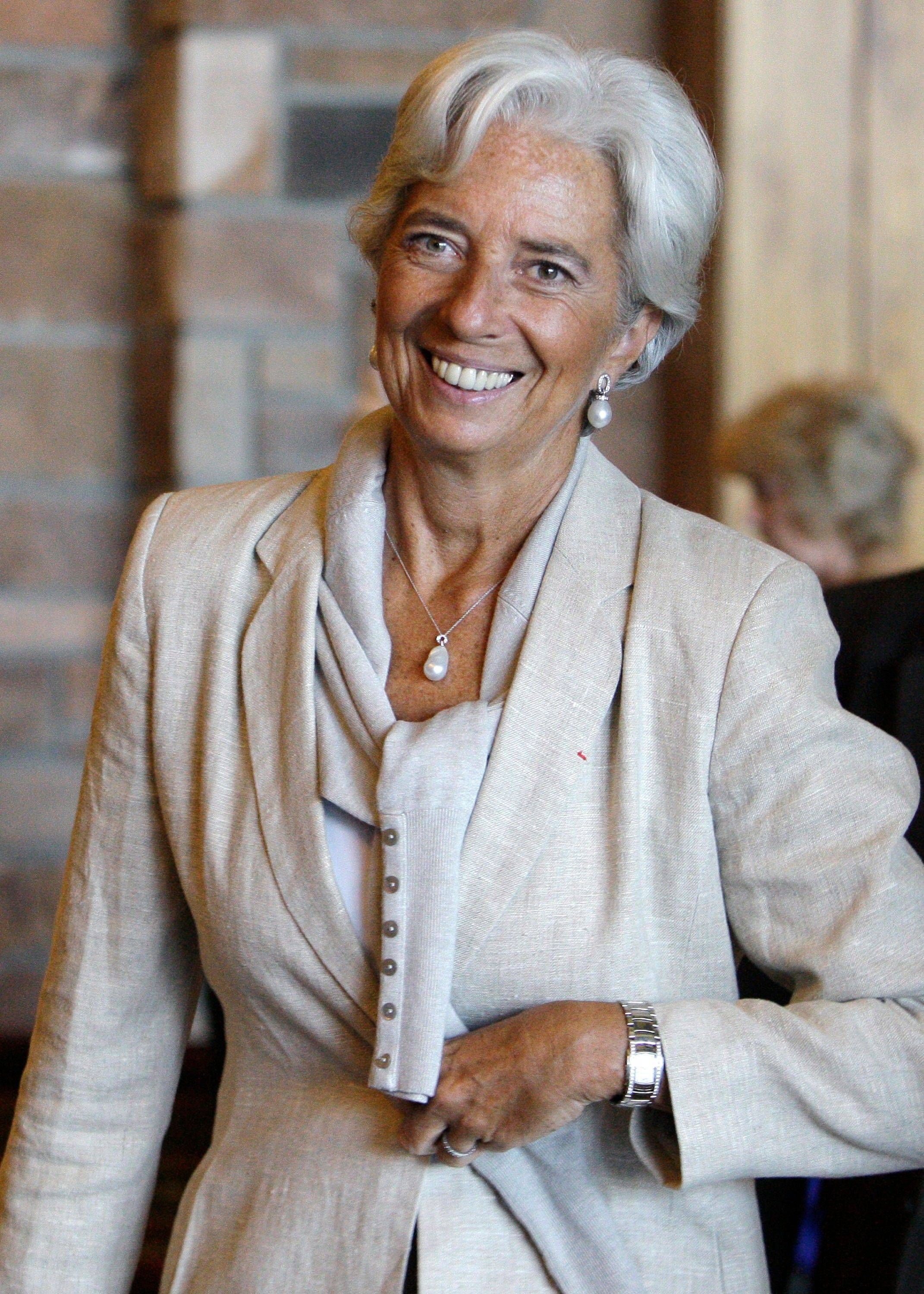 Christine Lagarde, of France, managing director of the International Monetary Fund, arrives Saturday at the morning session of the Economic Policy Symposium at Jackson Hole in Moran, Wyo.