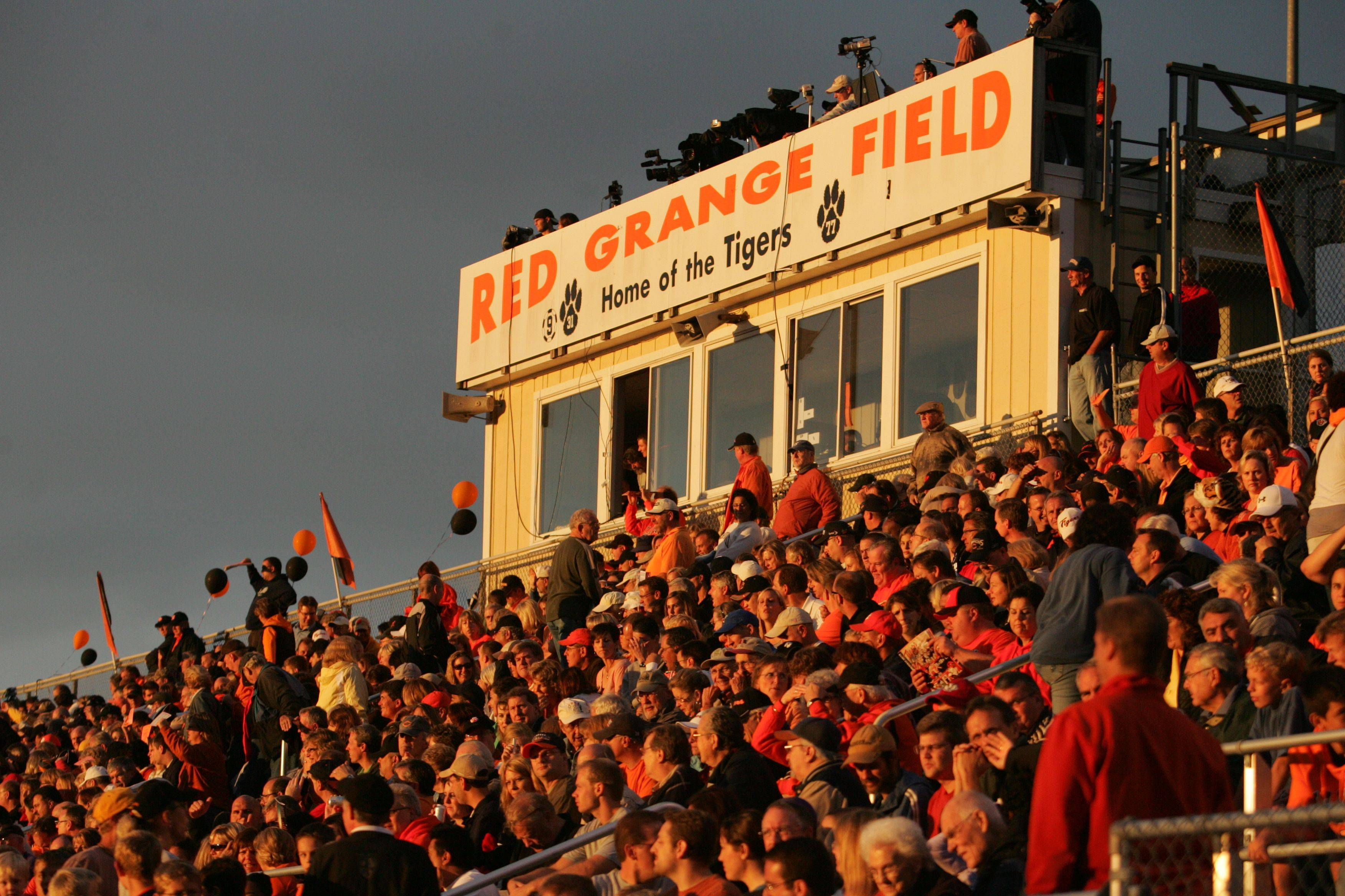Big crowds are expected Sunday morning at Red Grange Field for Wheaton Warrenville South's nationally-televised football game against Glenbard West.