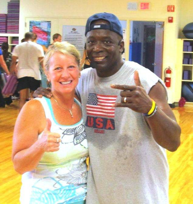 Libertyville resident Kendra Fischl, left, with fitness guru Billy Blanks at the Libertyville Sports Complex.