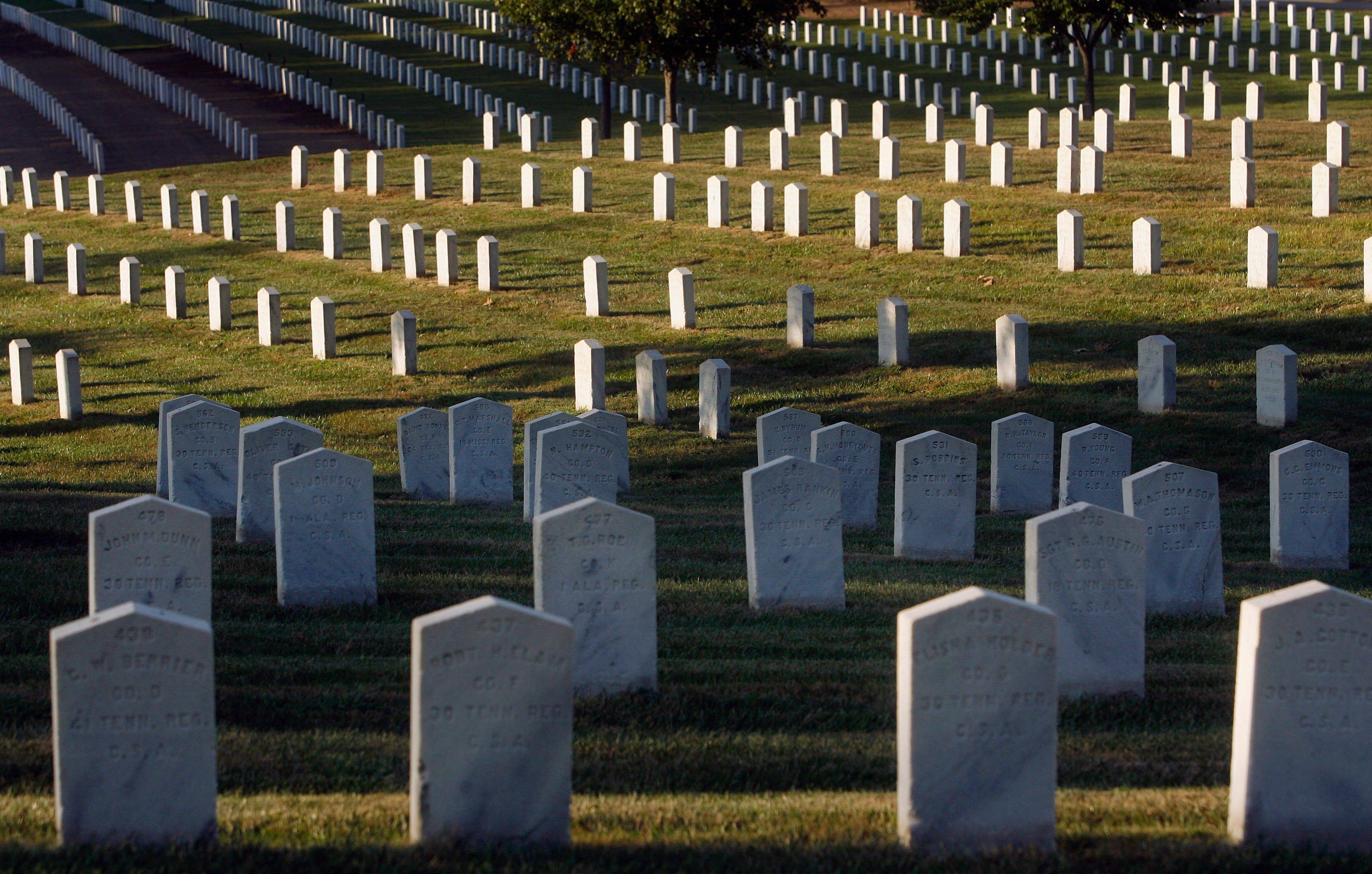 Confederate headstones can be seen in rows at Camp Butler National Cemetery in Springfield. There are 866 Confederate graves making up a separate section at Camp Butler, which was created in 1862 as one of the first national cemeteries.