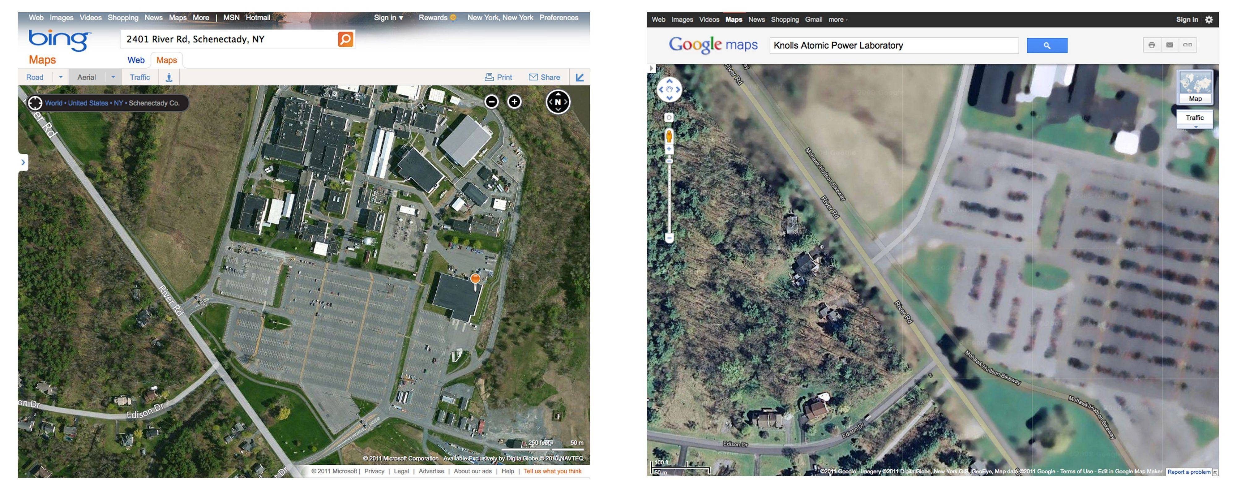 This combination image of screen captures shows maps of the Knolls Atomic Power Laboratory in Schenectady, N.Y., available on the Bing website, left, and Google maps services website on Aug. 18 In the post-9/11 world, the blurred image of this and other sites is the product of New York state's homeland security apparatus.