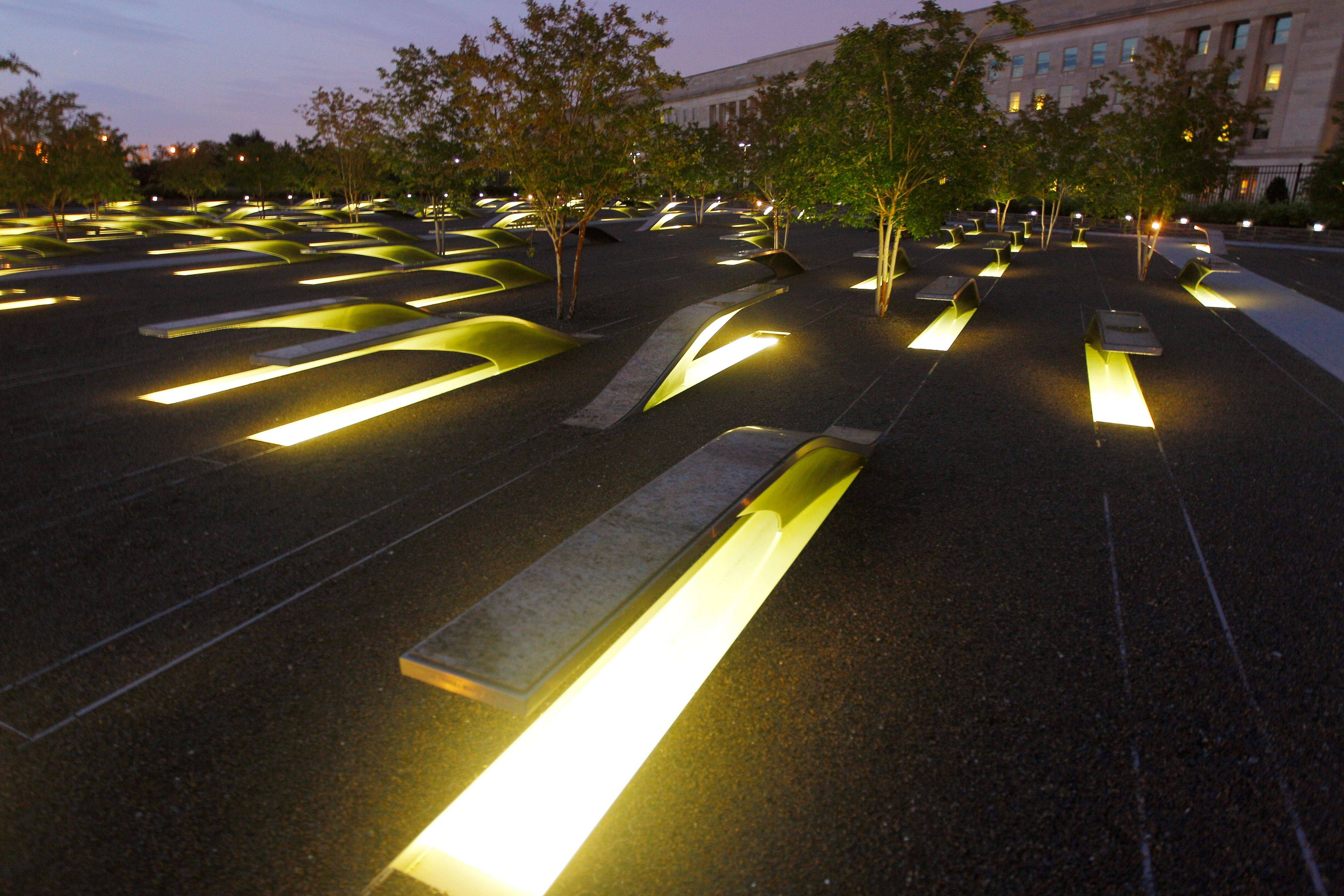 Lights illuminate the 184 stone benches outside the Pentagon in Arlington, Va. The permanent outdoor Pentagon Memorial was created to honor the family members and friends killed both in the building and on American Airlines Flight 77.