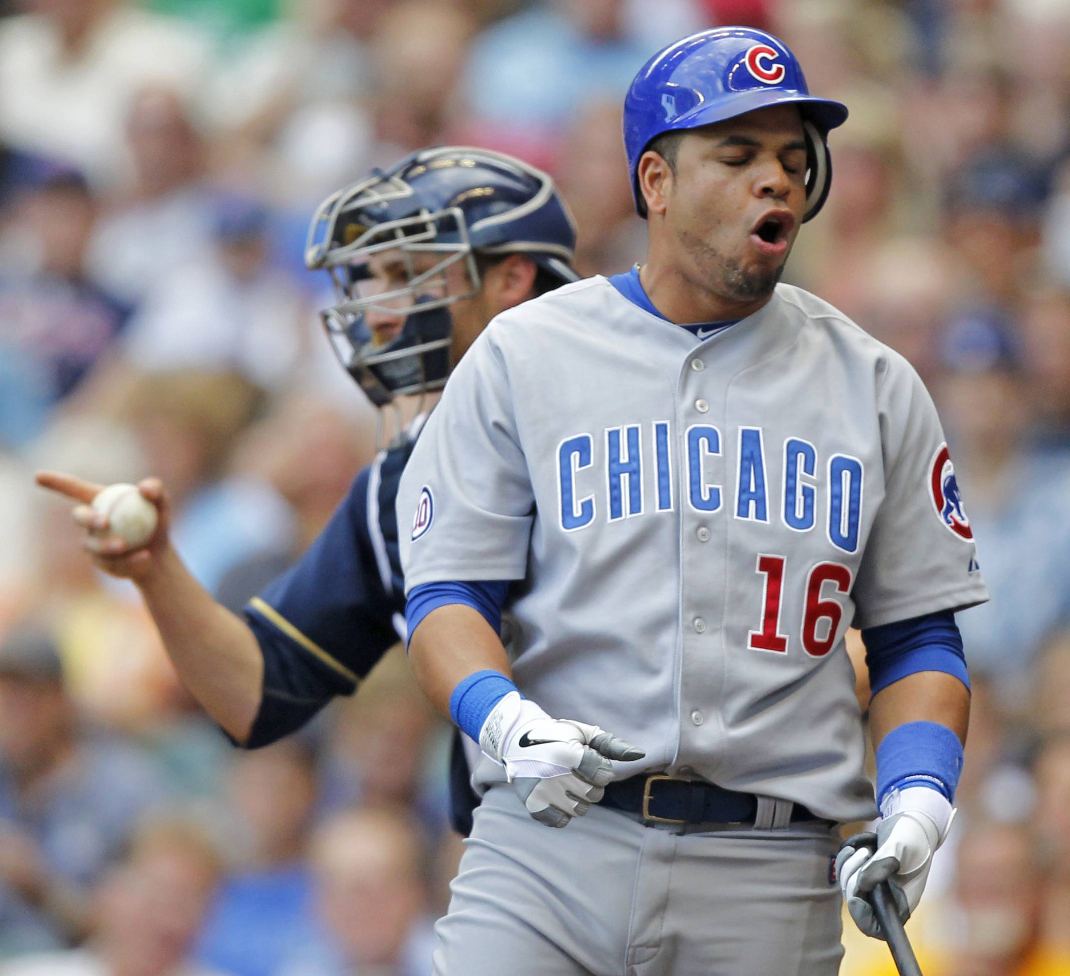 Cubs third baseman Aramis Ramirez reacts after striking out during Sunday's sixth inning in Milwaukee.