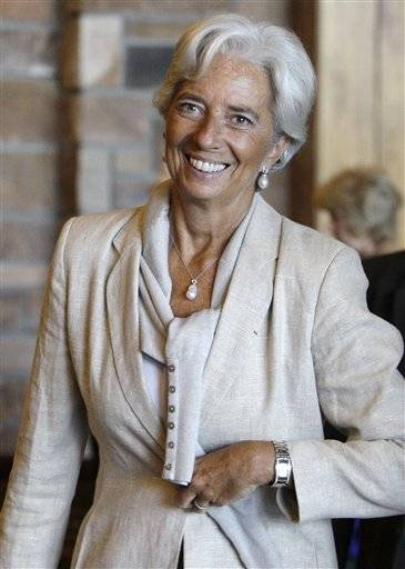 Christine Lagarde, of France, managing director of the International Monetary Fund, arrives at the morning session of the Economic Policy Symposium at Jackson Hole in Moran, Wyo.
