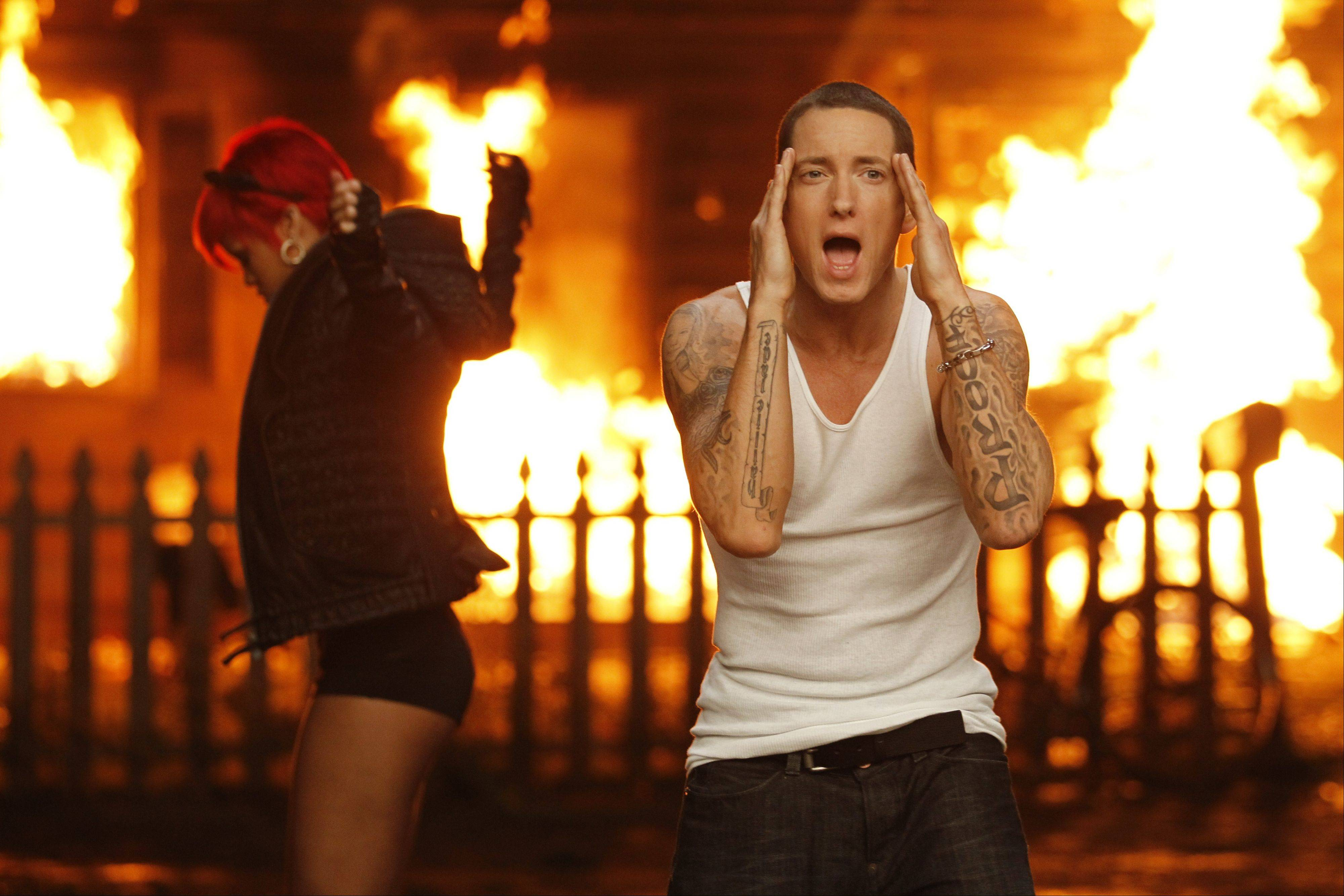 "Eminem, right and Rihanna are shown during the filming of their music video, ""Love the Way You Lie,"" which is nominated in the new category Best Video with a Message at the 2011 MTV Video Music Awards on Sunday."