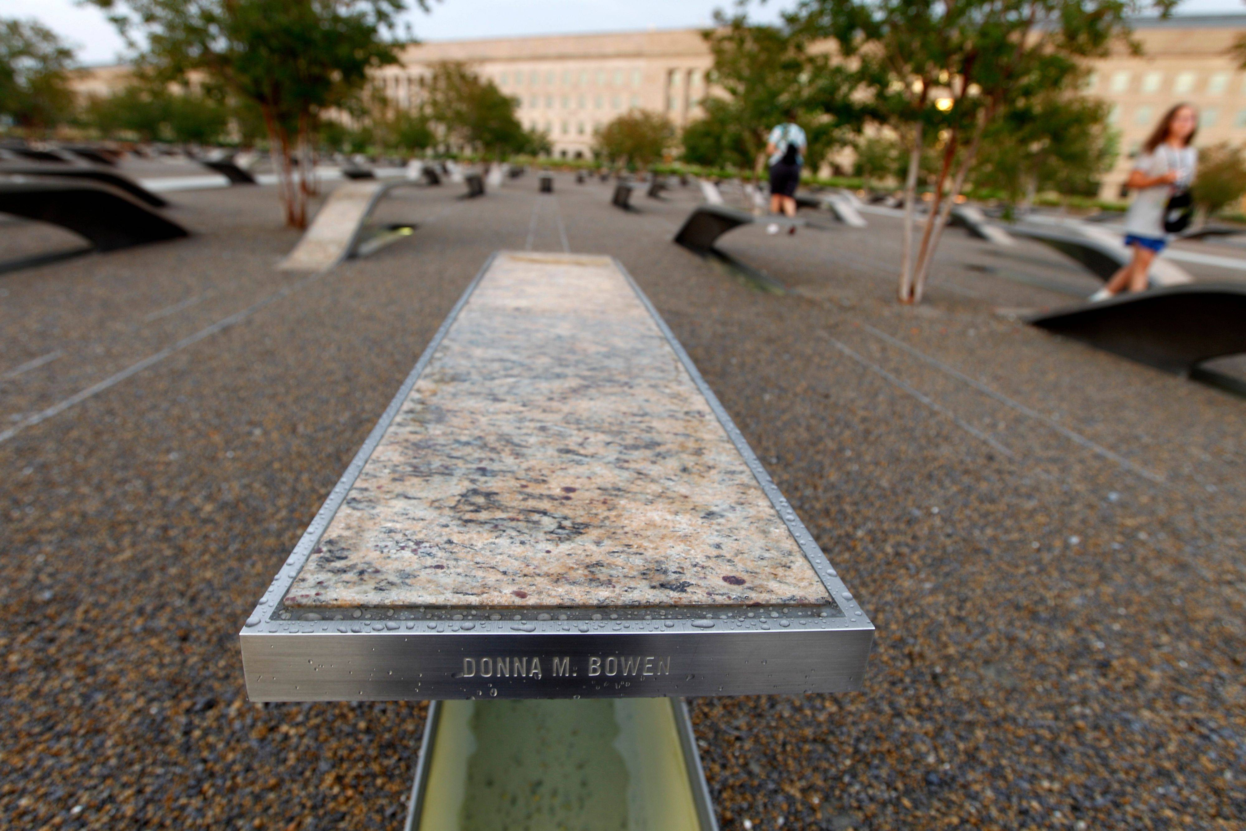 A bench inscribed with the name Donna M. Bowen is just one of 184 benches at the Pentagon Memorial in Arlington, Va.