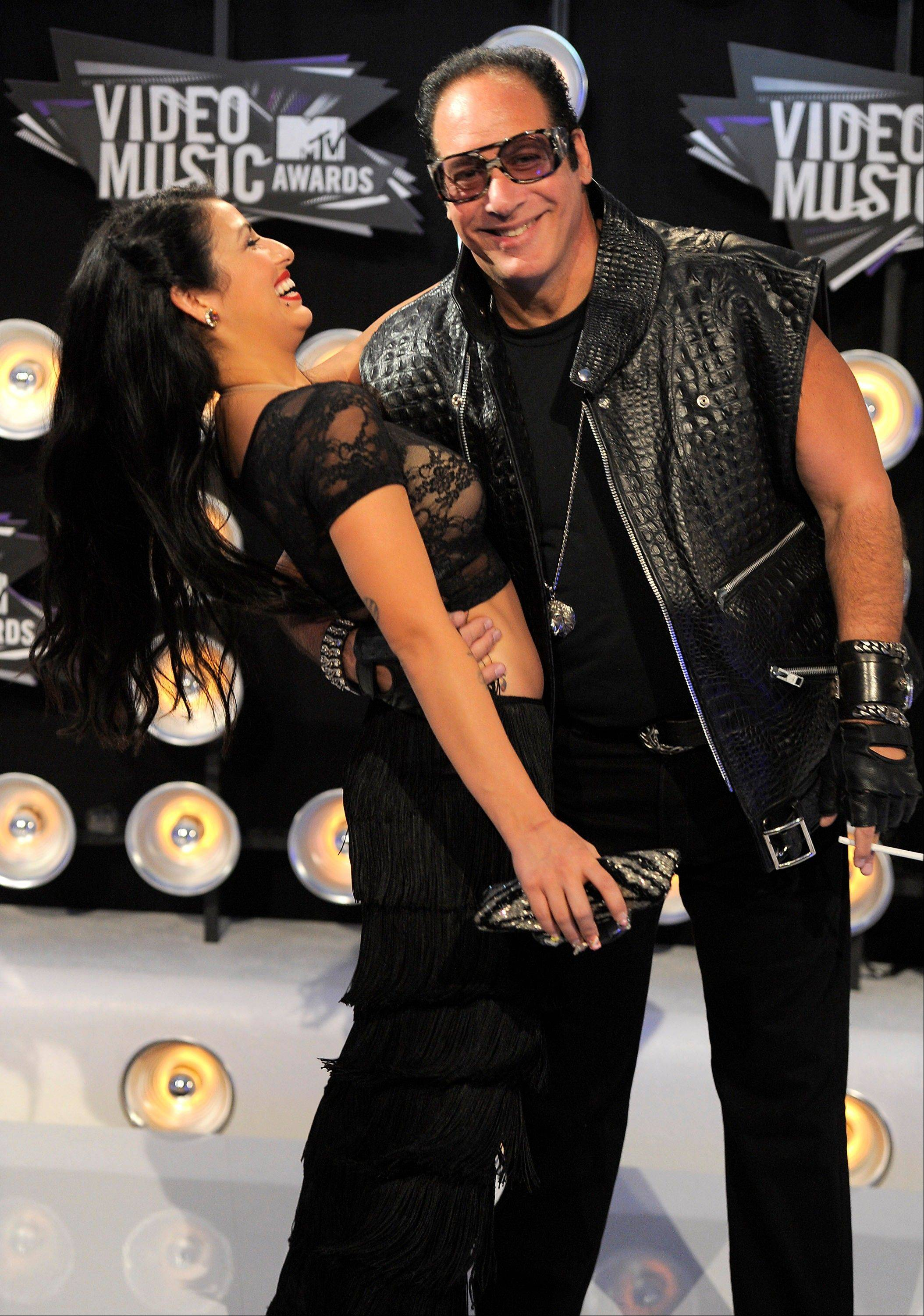 Comedian Andrew Dice Clay has a little fun with Valerie Vasquez before heading into the VMAs on Sunday in Los Angeles.