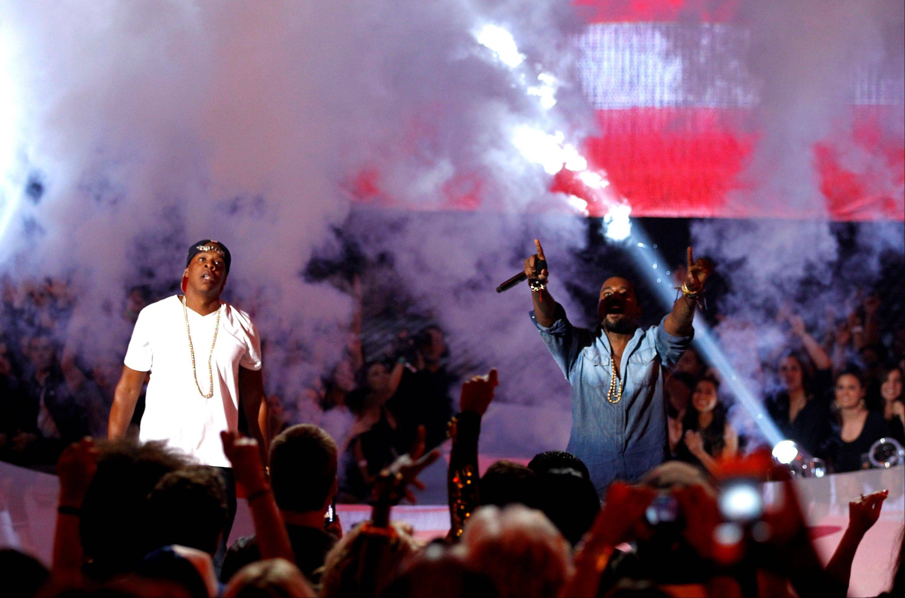 Jay-Z, left, and Kanye West perform at the MTV Video Music Awards on Sunday in Los Angeles.