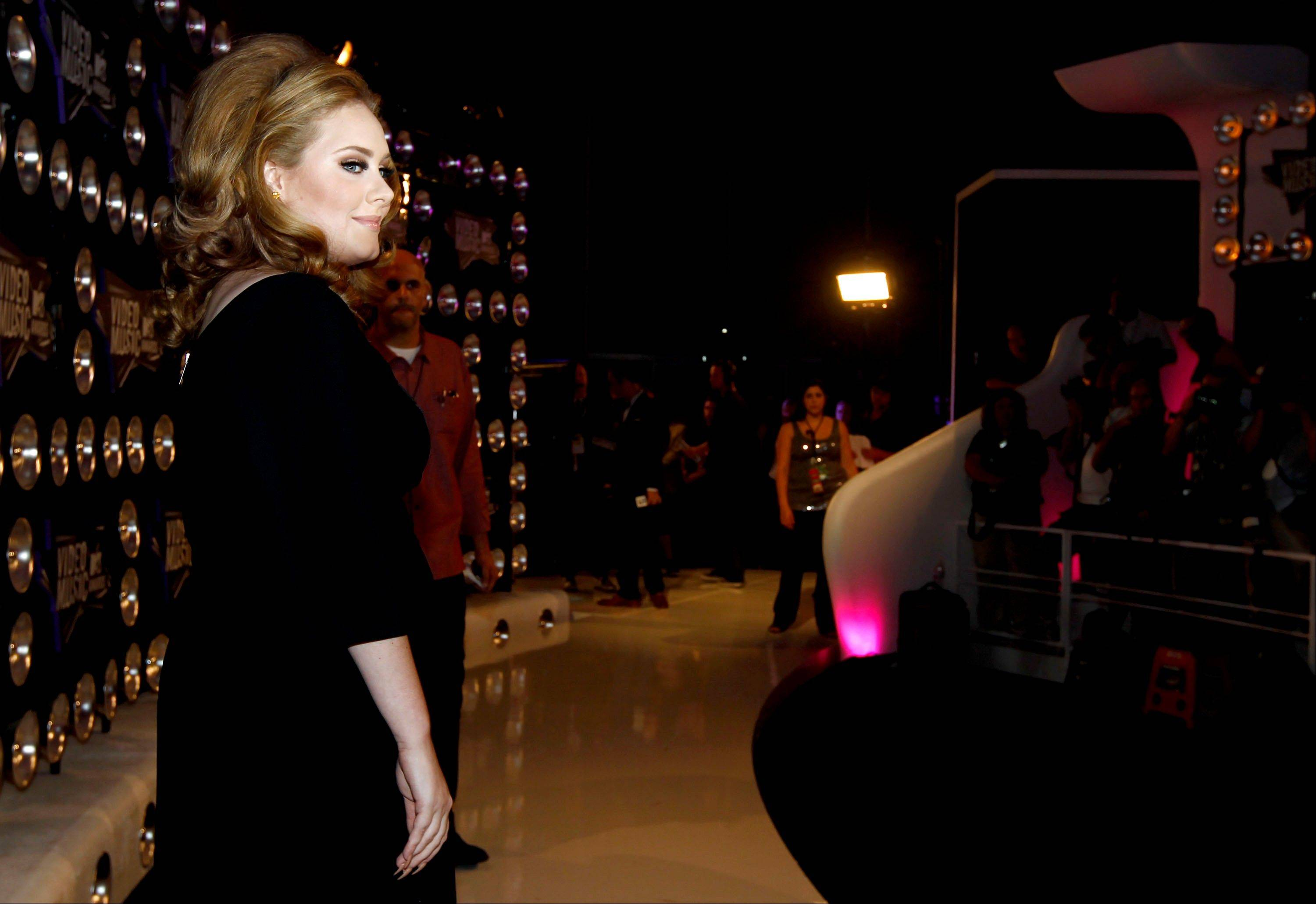 British singer Adele arrives at the MTV Video Music Awards on Sunday in Los Angeles.