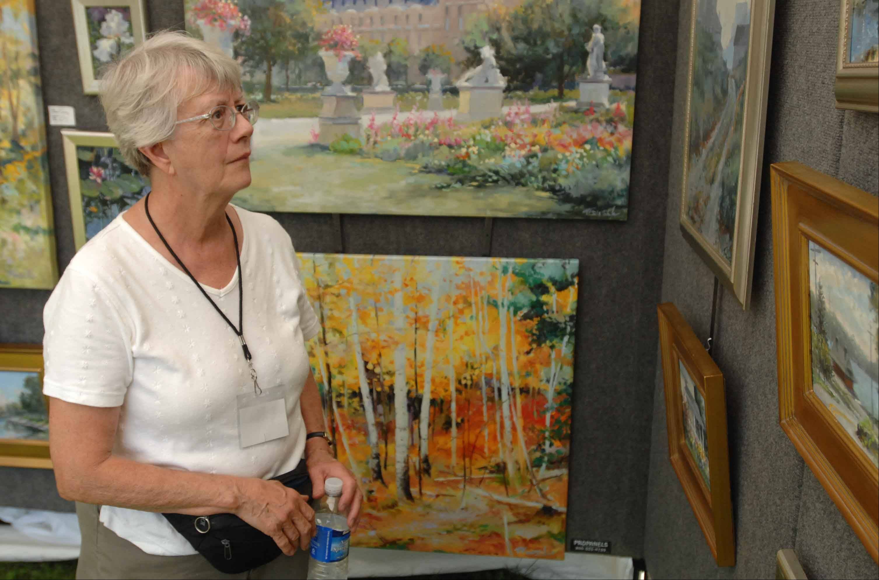 Maryanne Engelhardt of Arlington Heights looks at by Thomas Trausch during the Glen Ellyn Festival of the Arts at Lake Ellyn Park Saturday.