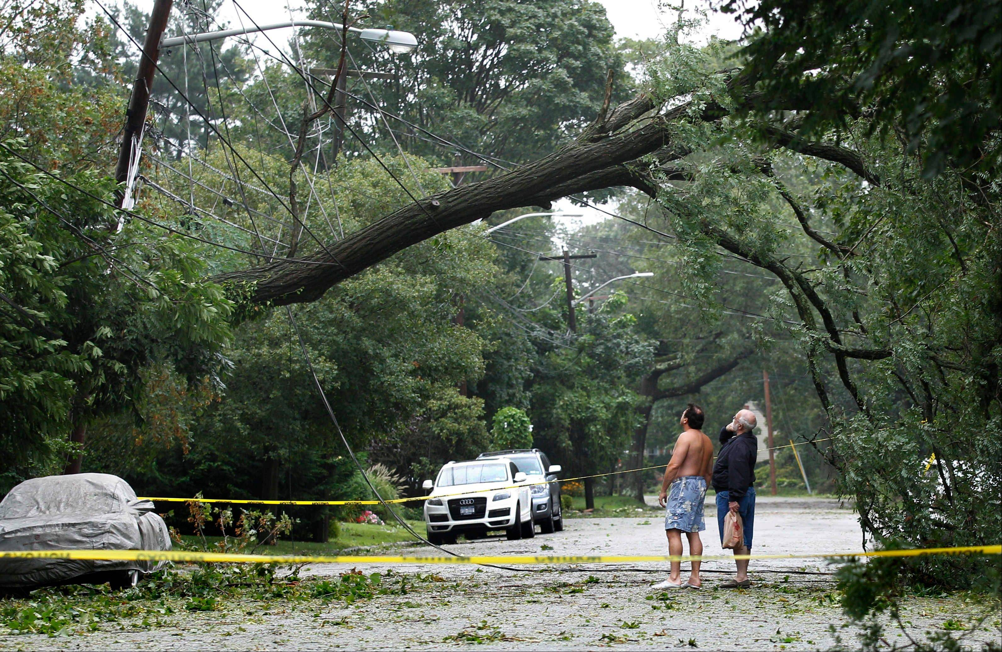 Two pedestrians look up at a large tree resting on power lines after the effects of Tropical Storm Irene cleared the area in Wantagh, N.Y., on Long Island, Sunday, Aug. 28, 2011. Irene weakened to winds of 60 mph, well below the 74 mph dividing line between a hurricane and tropical storm. The system was still massive and powerful, forming a figure six that covered the Northeast. It was moving twice as fast as the day before.