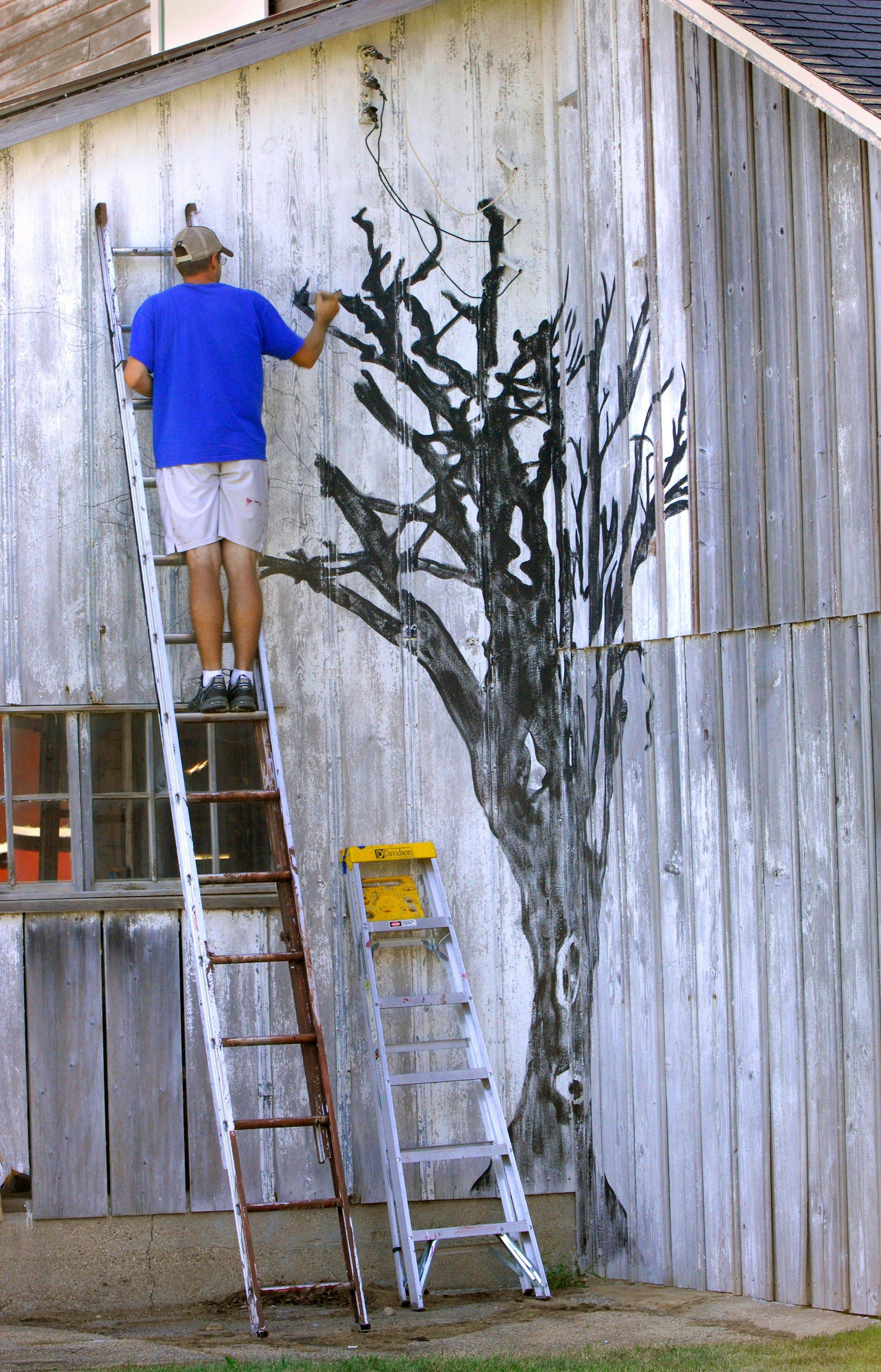 "Barn artist Scott Hagan paints a mural of the Cornell ""Mile Tree"" on Jo Morrison's barn east of Towanda, Ill. The tree was a fond memory for Morrison, who grew up in Cornell."