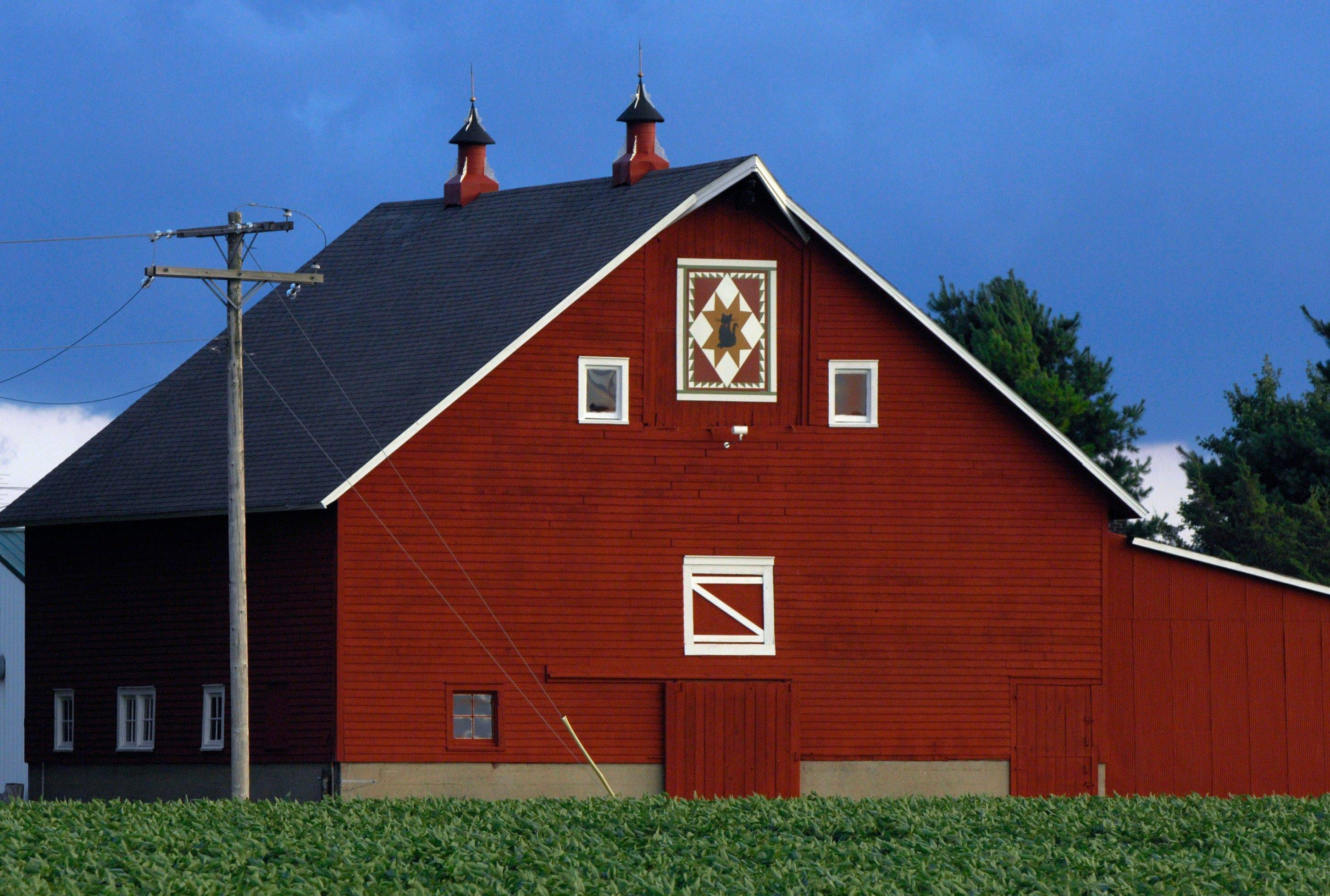Quilt art painted by Jo Morrison decorates one of her barns east of Towanda, Ill.