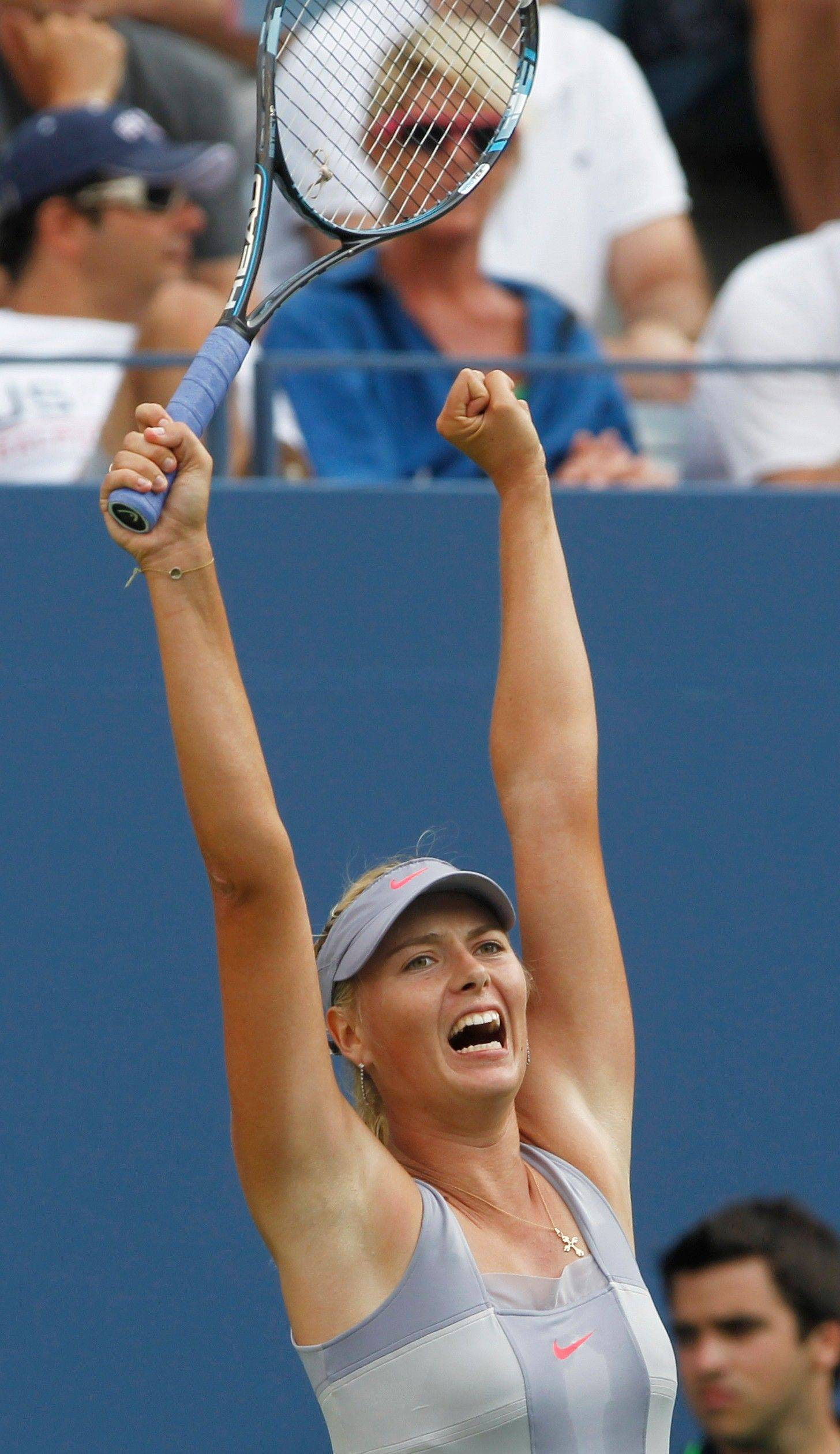 Maria Sharapova reacts after rallying to beat Heather Watson on Monday by scores of 3-6, 7-5, 6-3 in the first round of the U.S. Open in New York.