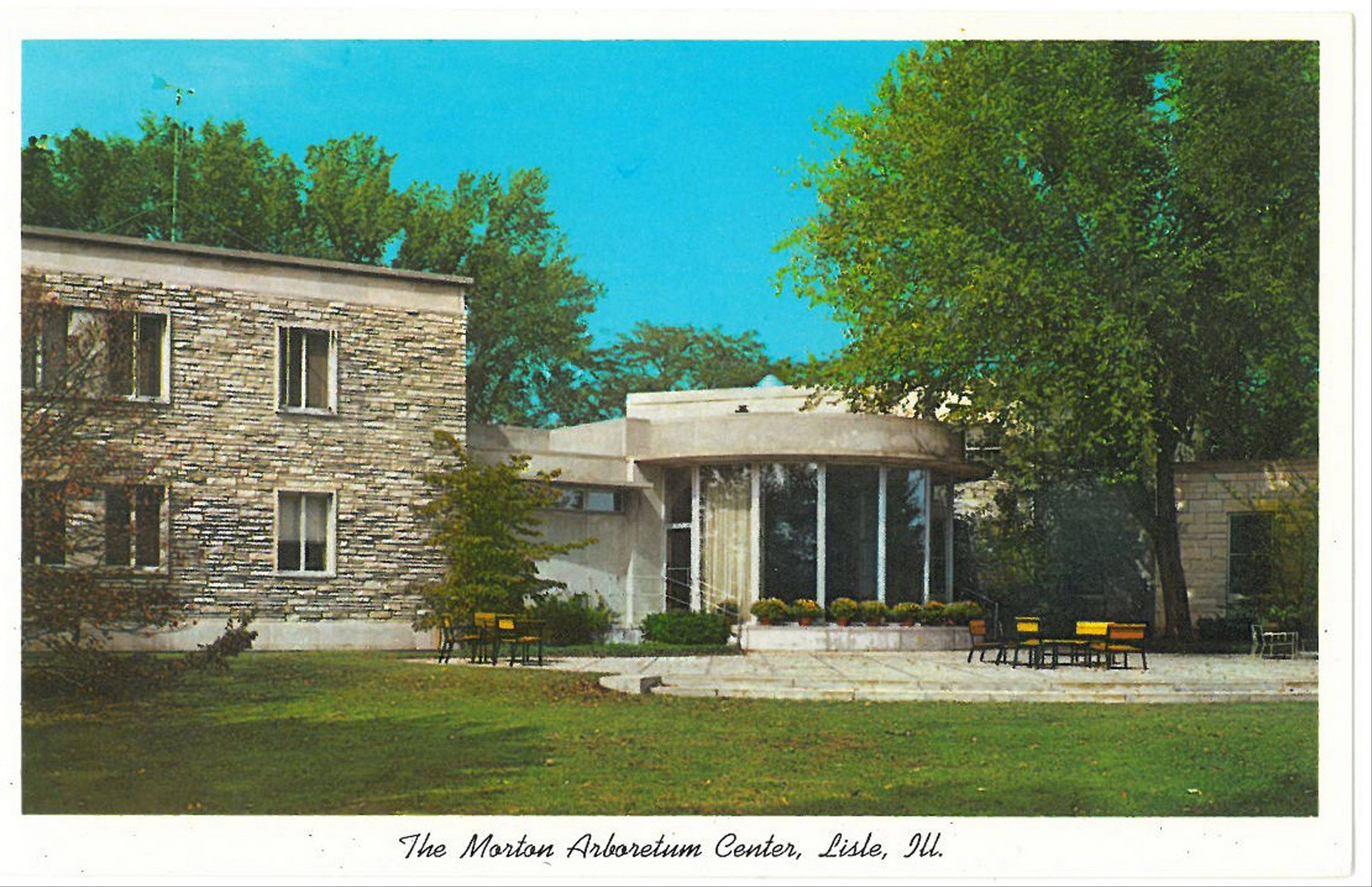 While images of nature on postcards from the Morton Arboretum may still look current, those with buildings and people hint at years gone by.