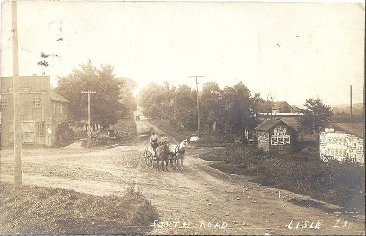 Susan Brown Nicholson's personal postcard collection includes numerous images of her hometown, like this postcard of South Street, an early name for Main Street, looking south at the intersection with Front Street.