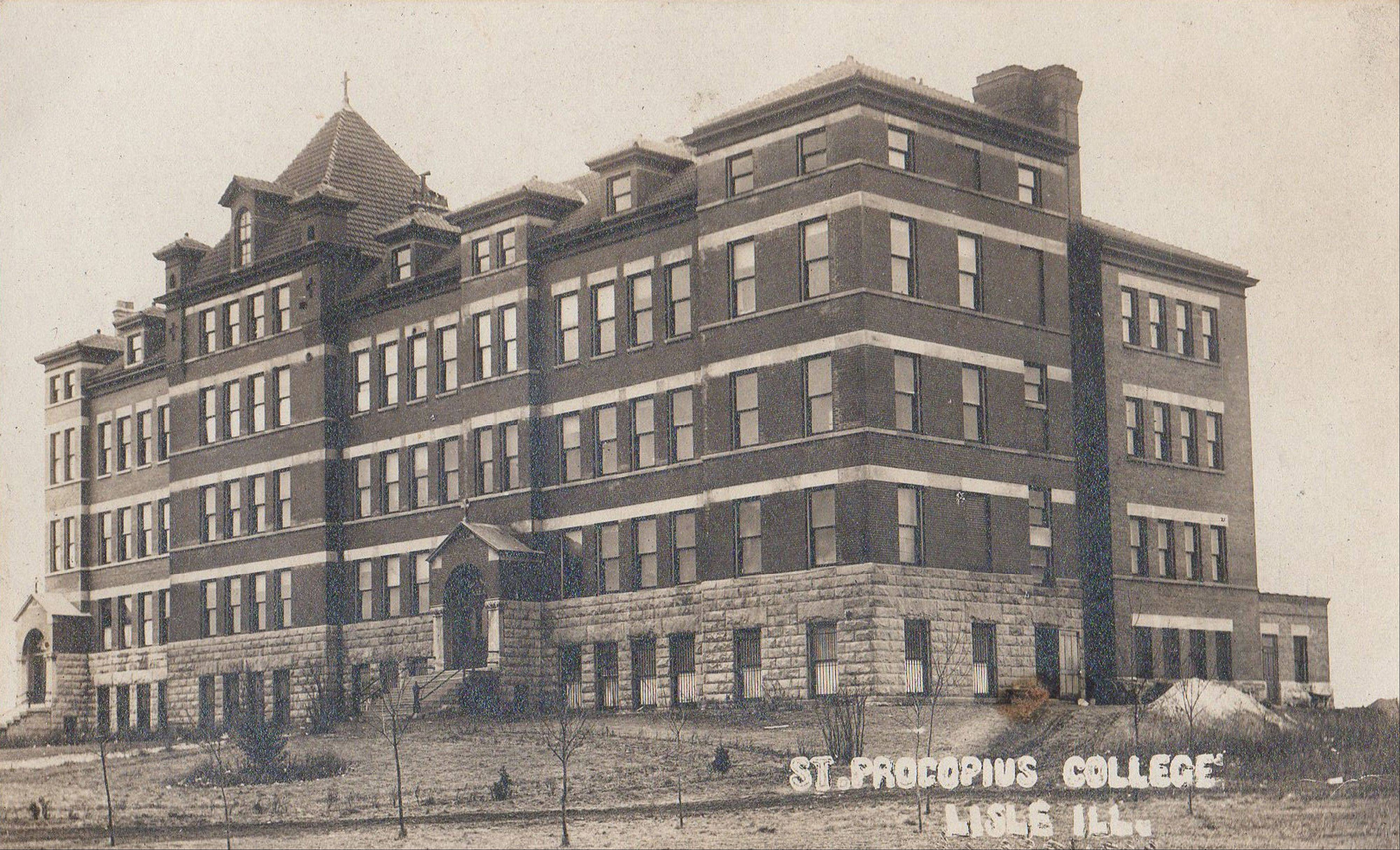 A postcard of Benedictine Hall, the first building on the St. Procopius College campus in Lisle, preserves a bit of history as the building has met the wrecking ball.