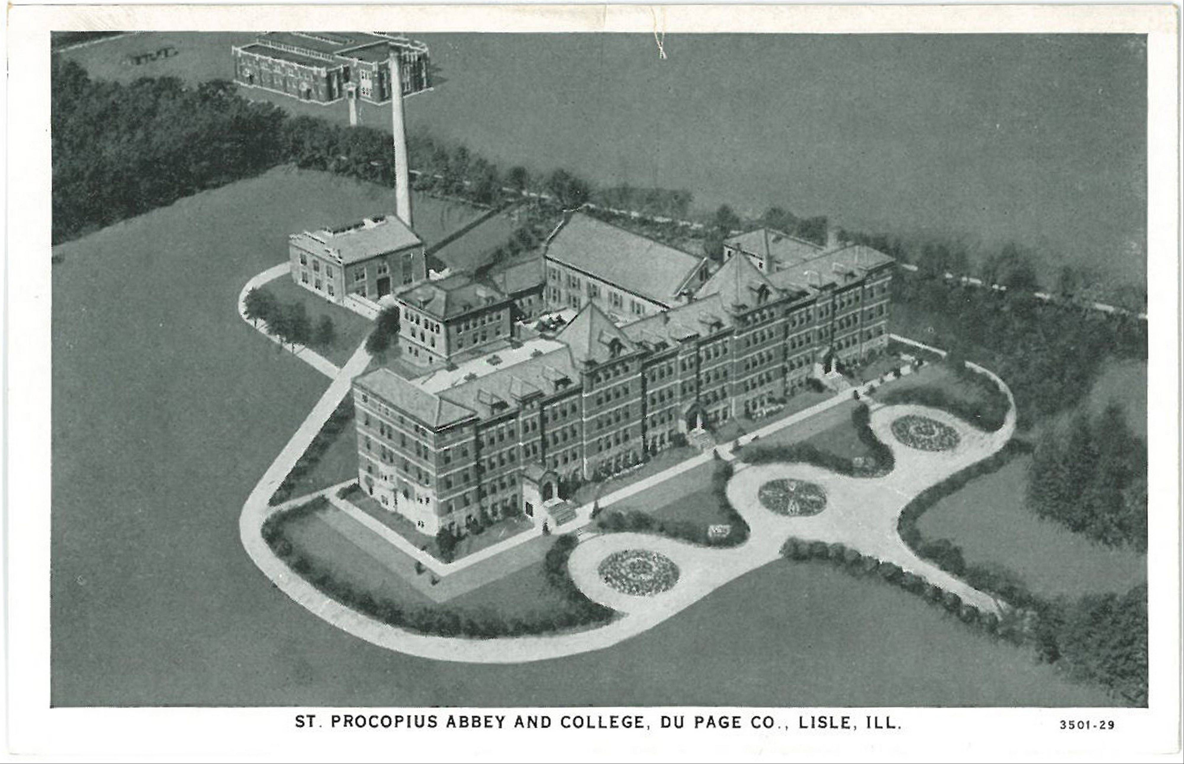 This postcard gives an aerial view of the start of St. Procopius College, which has grown into Benedictine University in Lisle.