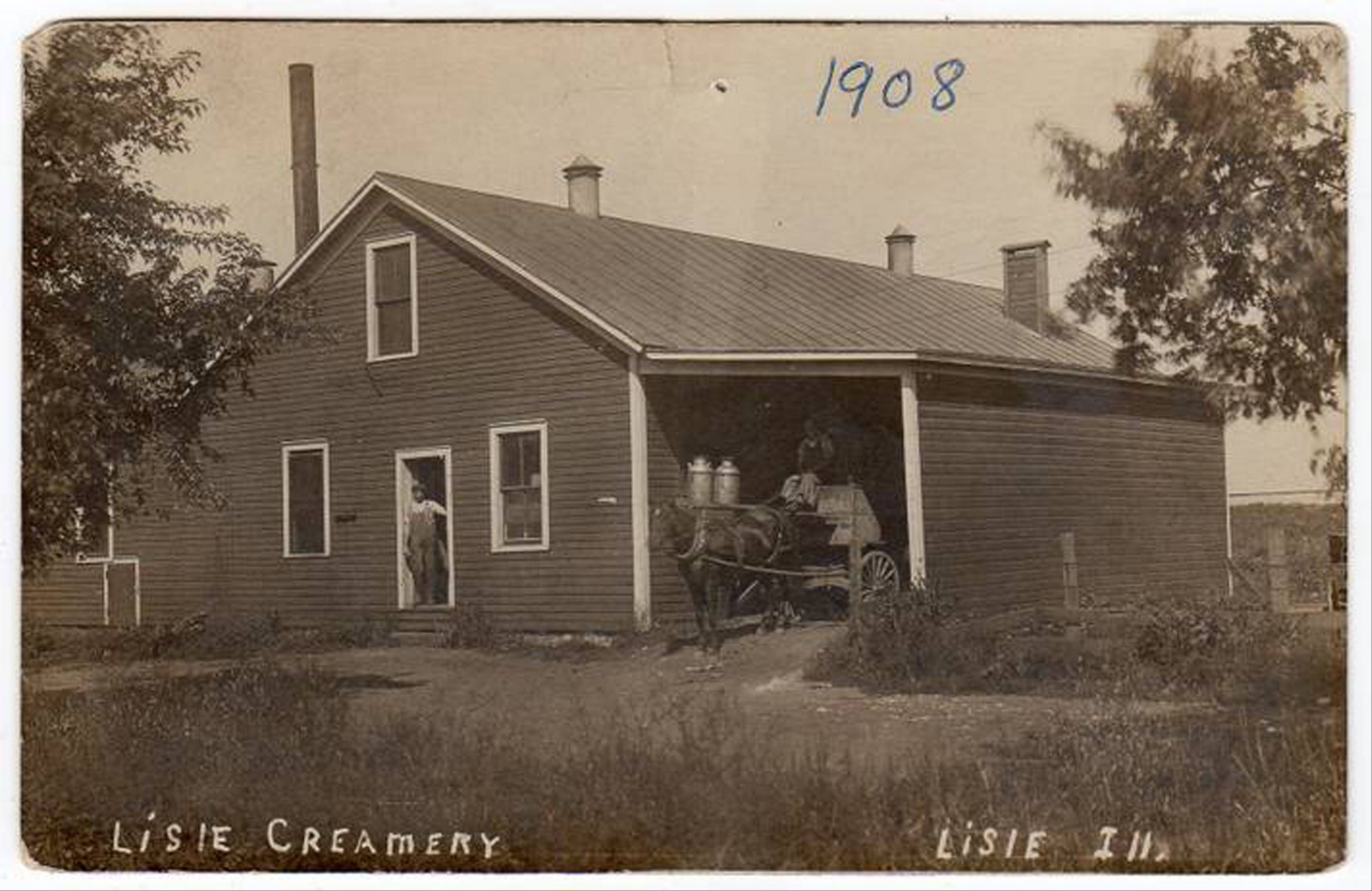 The thriving Lisle Creamery shown on this 1908 postcard sent milk by train to Chicago and put Lisle on the map.