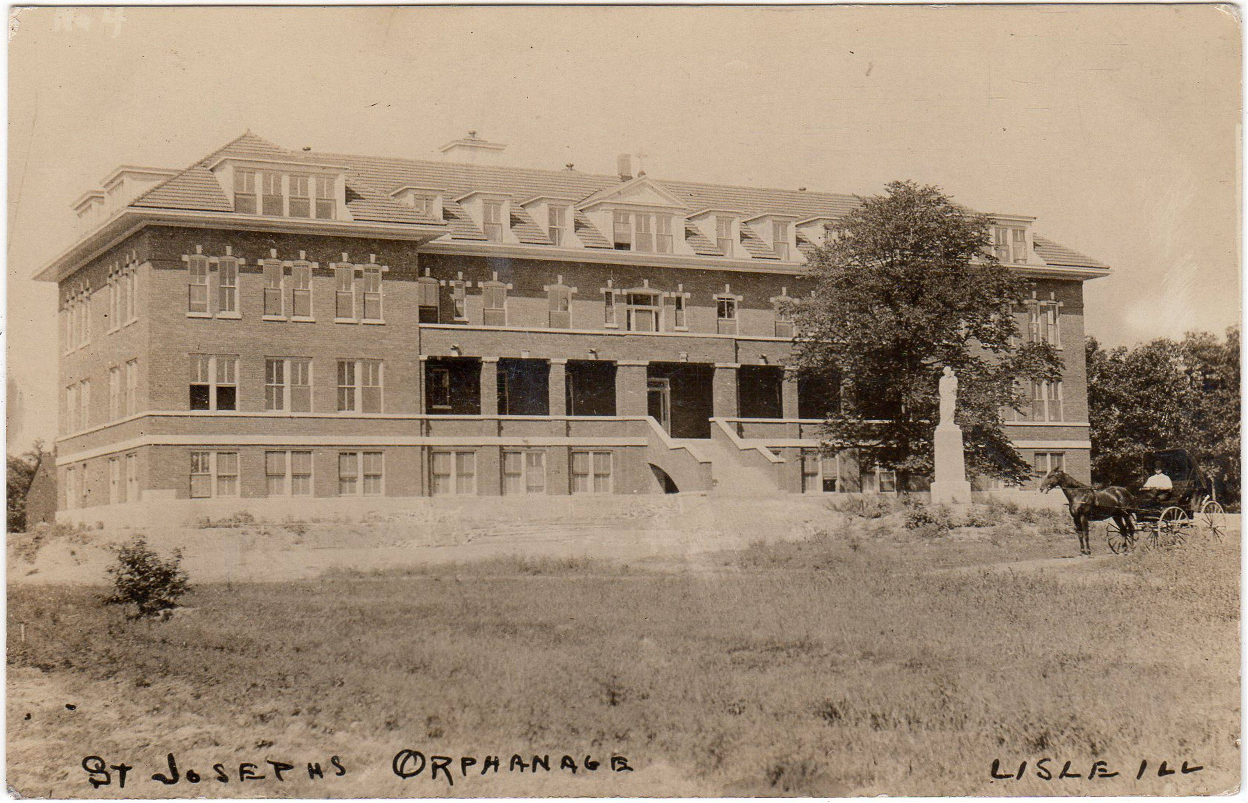 Once the St. Joseph's Bohemian Orphanage, the stately building on this postcard now is the heart of the Benet Academy campus.