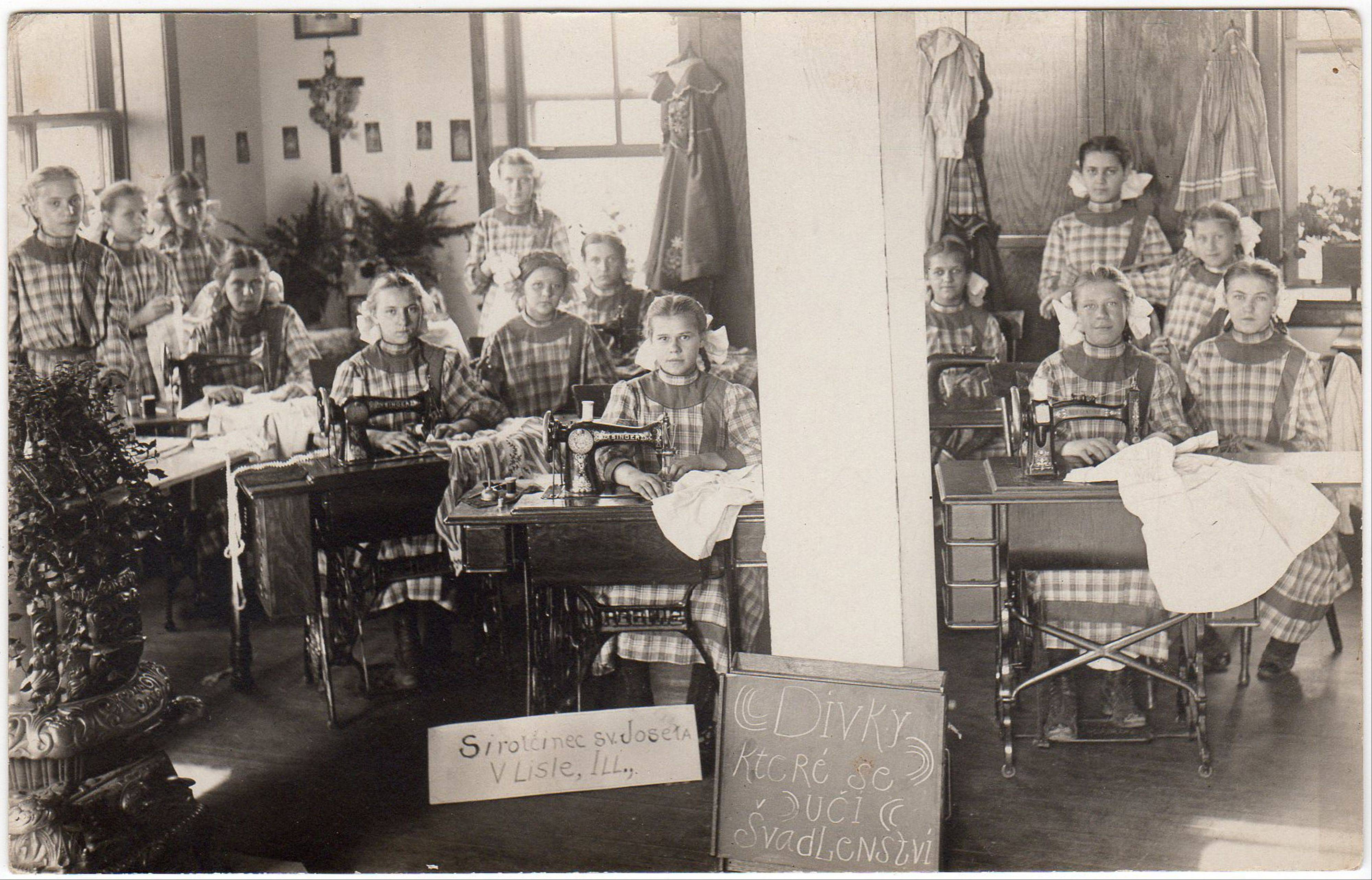 Consumer photography products and services allowed people to turn everyday moments from their own lives -- like sewing class at St. Joseph's Bohemian Orphanage -- into postcards.