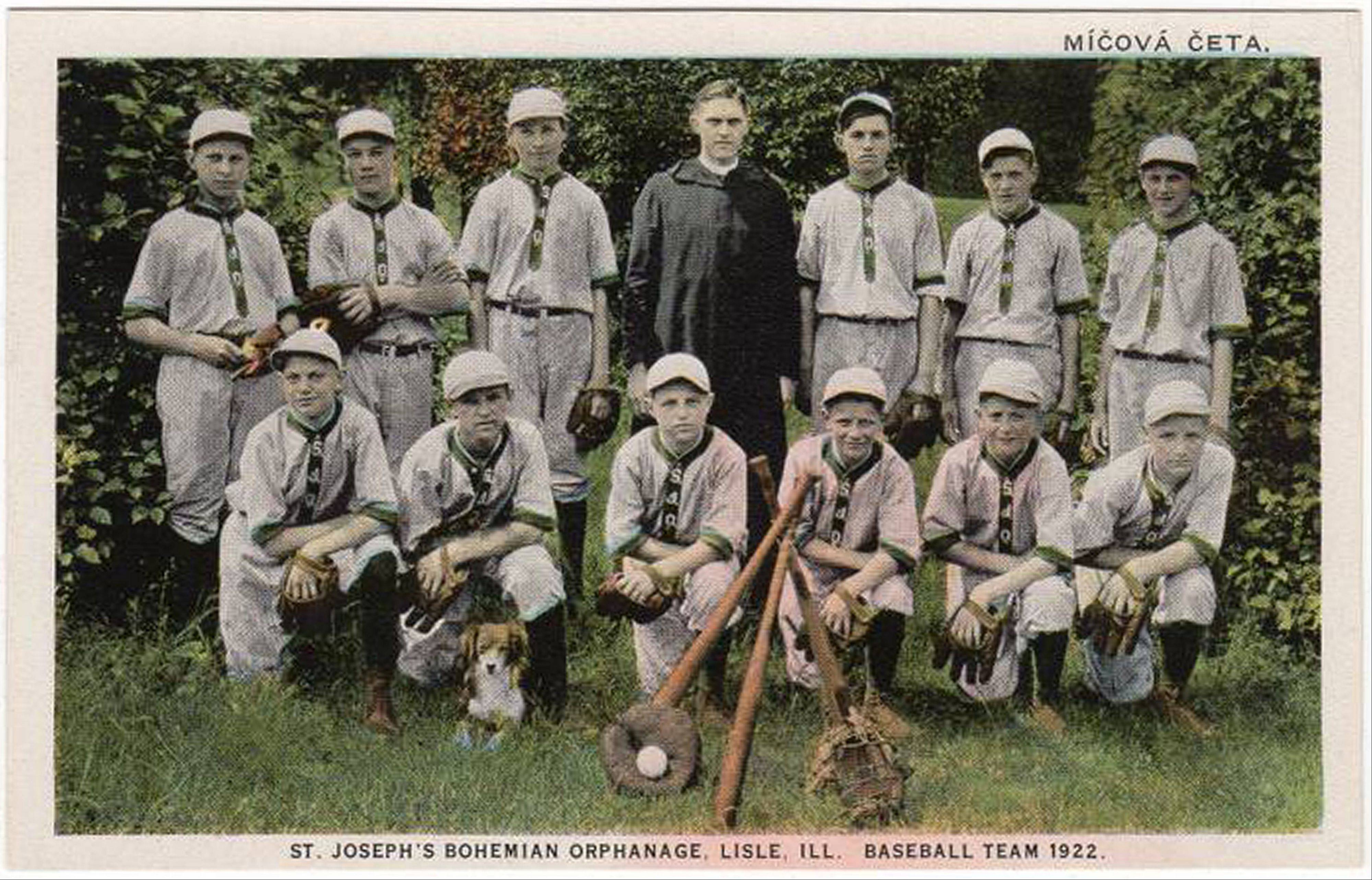 The St. Joseph's Bohemian Orphanage baseball team of 1922, preserved on a postcard.