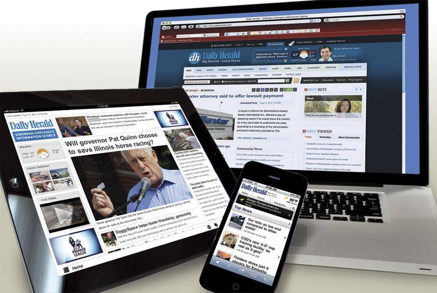 The Daily Herald will be available on the iPad, iPhone and your computer, or all of them, depending on which subscription you purchase. If you subscribe to the newspaper that goes to your home, you can get all the rest for $1 more a week.