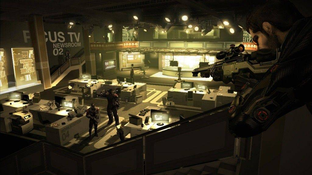 "Spy Adam Jensen looks for clues in a media company's headquarters in ""Deus Ex: Human Revolution."""