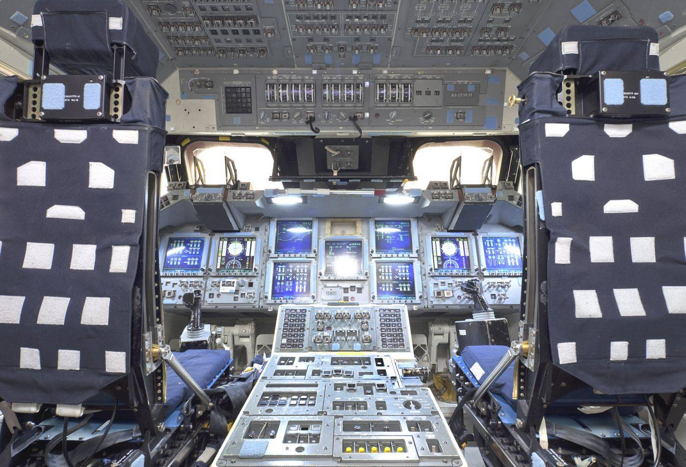 A look inside the cockpit of the space shuttle.