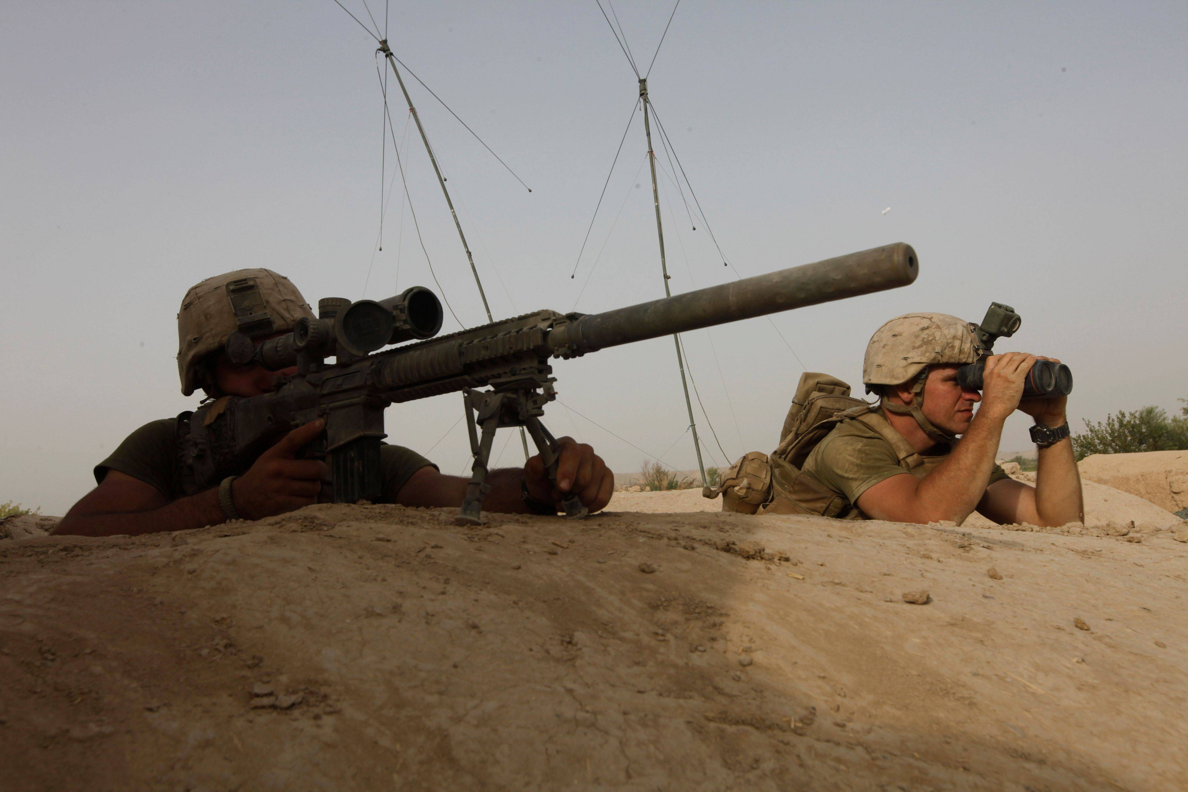 Members of U.S. Marine Scout-Sniper team look for a Taliban position in a nearby tree line, during an exchange of fire with Taliban militants, in Helmand province, southern Afghanistan, Saturday.