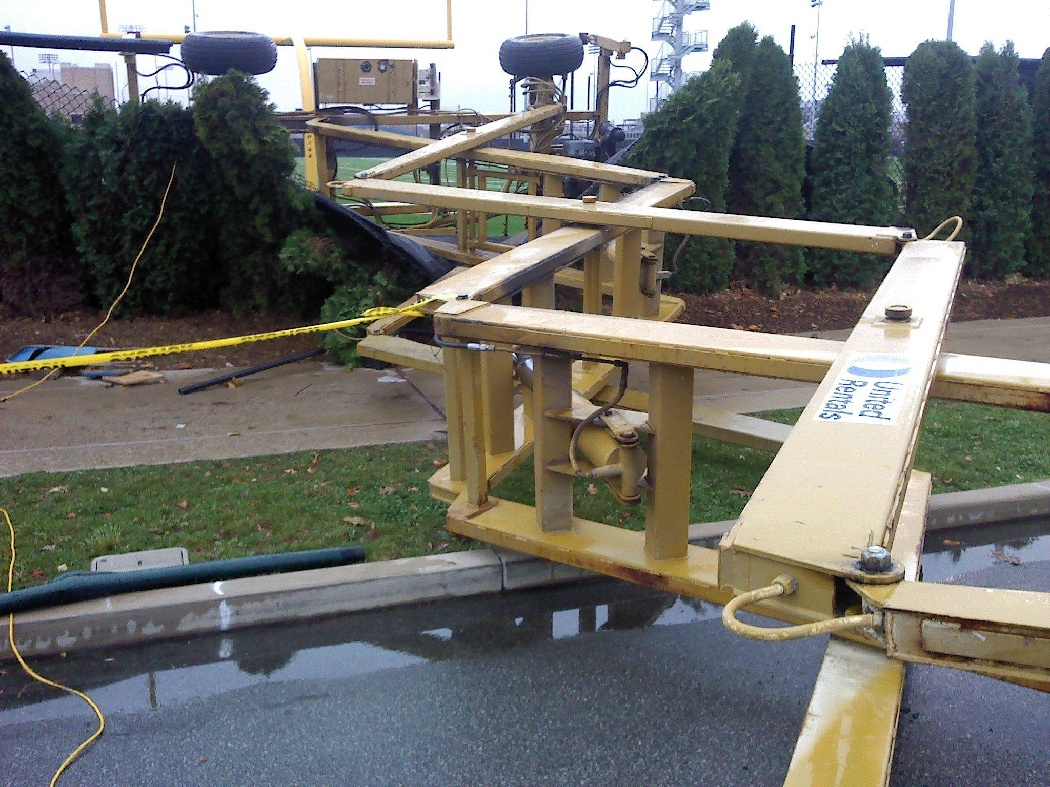 In an Oct. 27, 2010, file photo provided by the Indiana Department of Labor, a hydraulic lift lies on its side after an accident that killed Notre Dame student Declan Sullivan of Long Grove. Notre Dame, with help from Sullivan's family, has launched an aerial lift safety program.