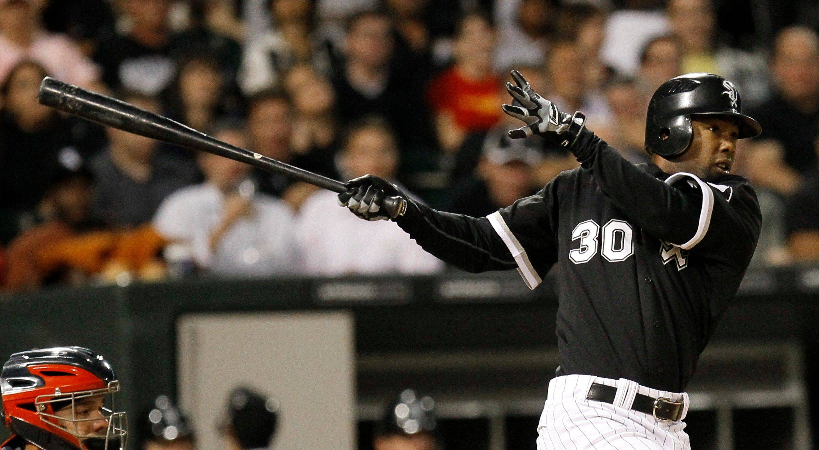 Alejandro De Aza swings through for a 3-run homer off in the fourth inning to erase a 3-0 deficit and get the White Sox' offense going Tuesday night.