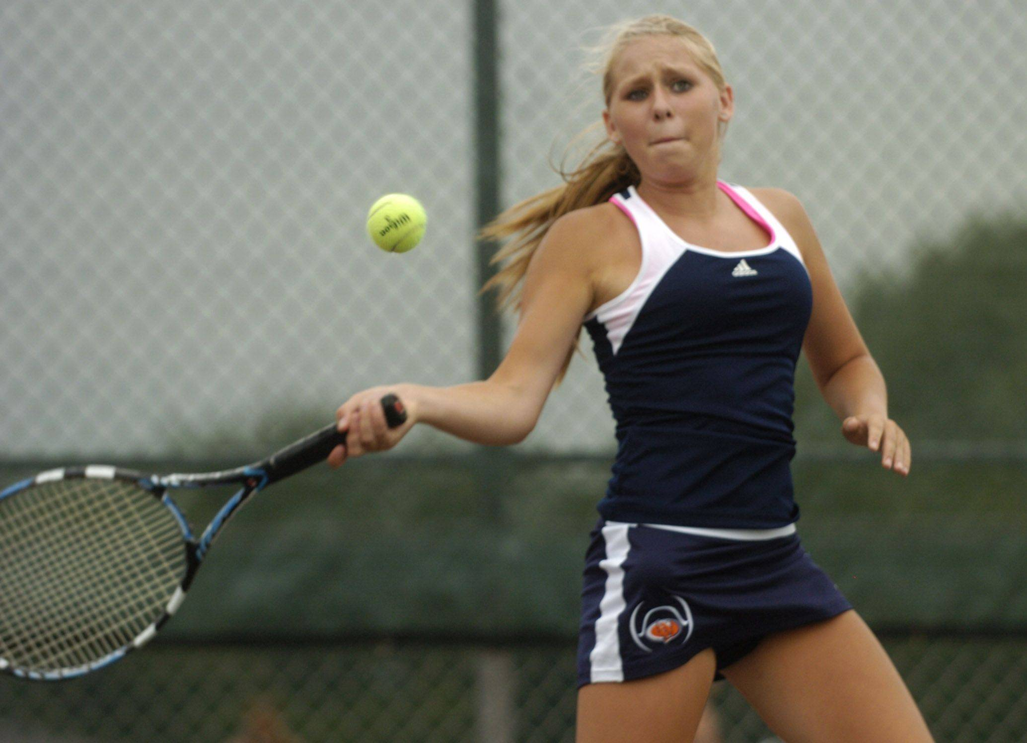 Buffalo Grove first doubles player Lauren Goggin competes against Barrington on Tuesday.