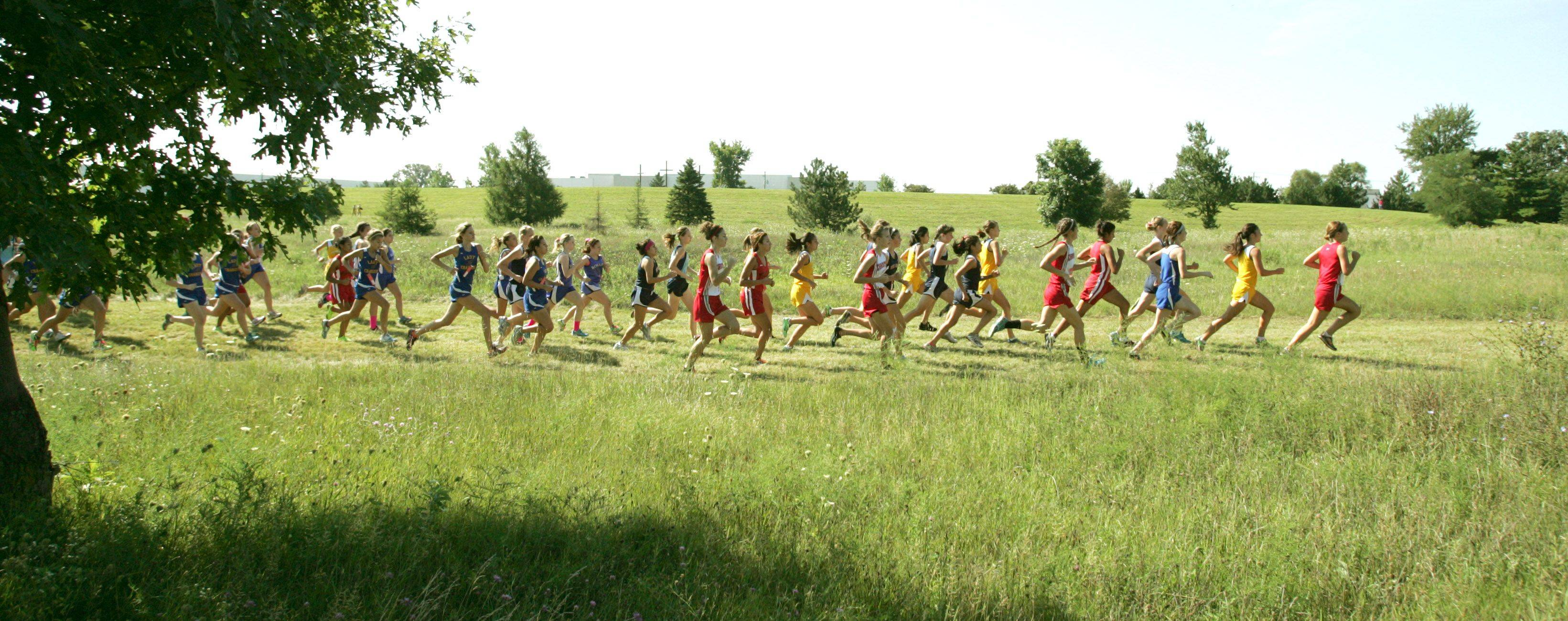 Runners fight for positon during the first 200 yards of the girls cross country meet at Marmion High School Saturday.